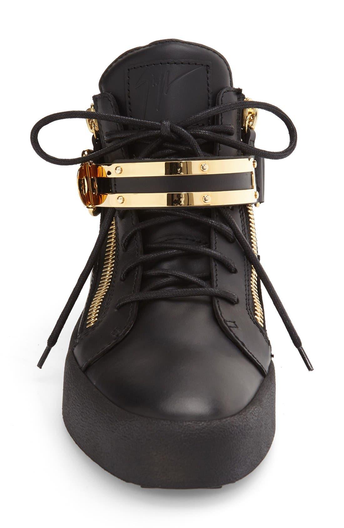 Side Zip High Top Sneaker,                             Alternate thumbnail 3, color,                             Nero Leather