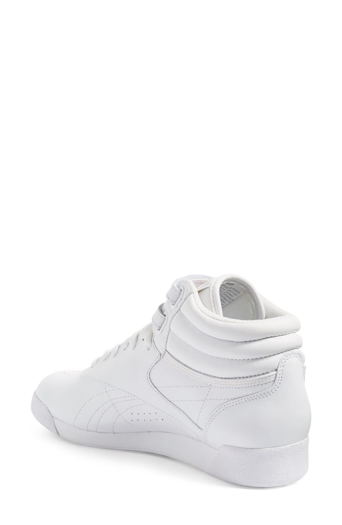 'Freestyle Hi' Sneaker,                             Alternate thumbnail 2, color,                             White/ Silver