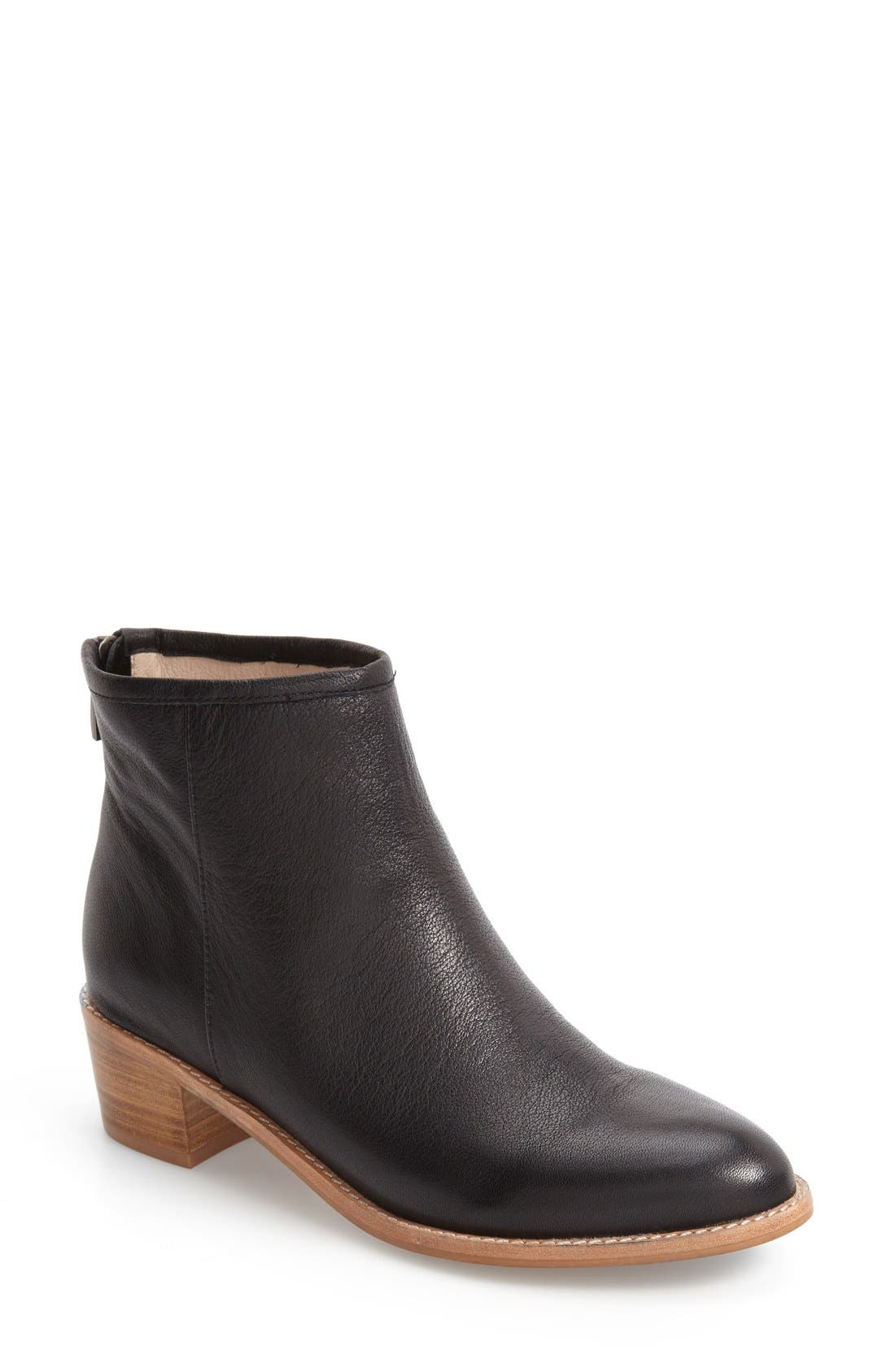Mae Bootie,                             Main thumbnail 1, color,                             Black Leather