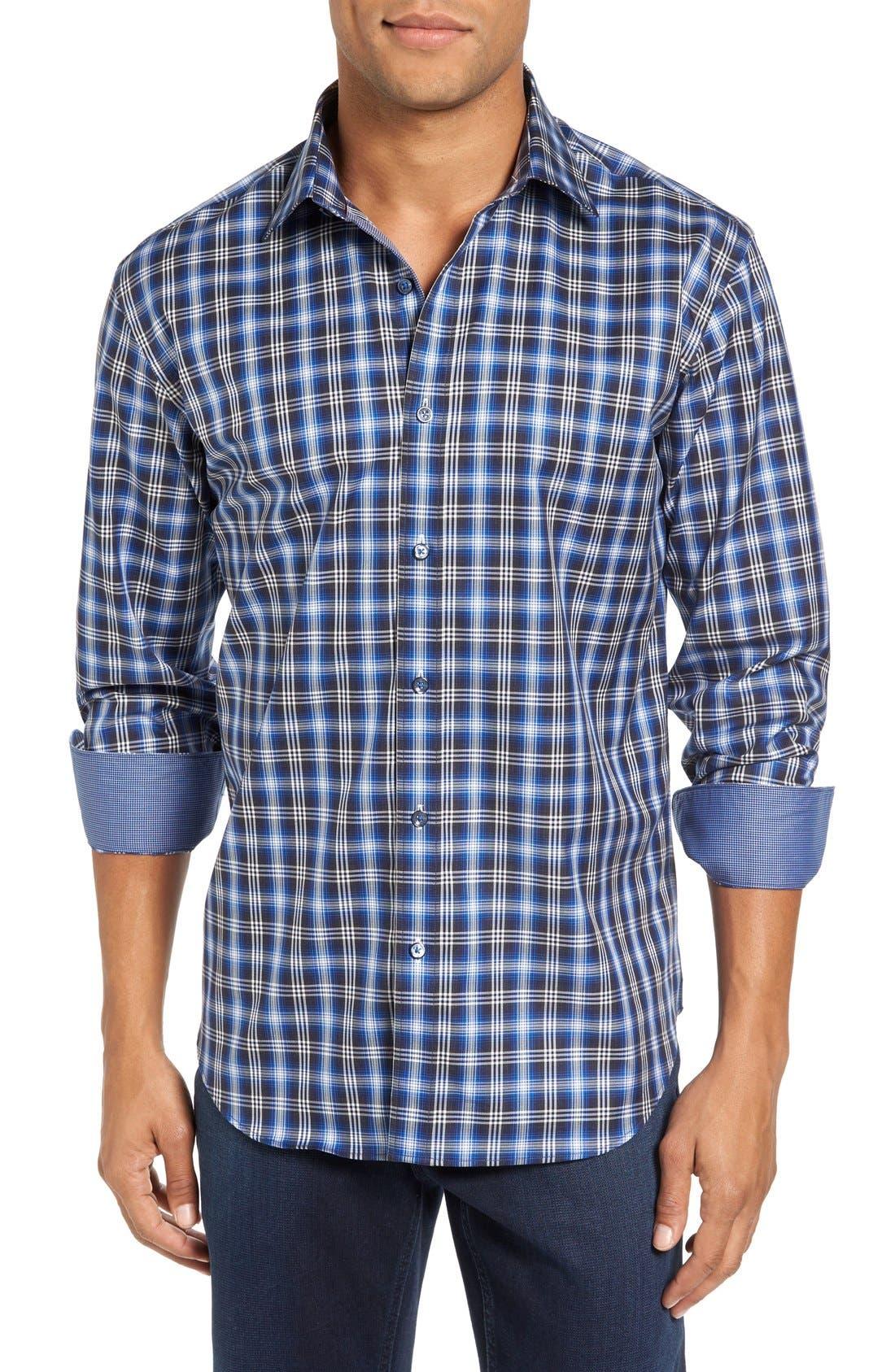 Trim Fit Ombré Plaid Sport Shirt,                         Main,                         color, Navy