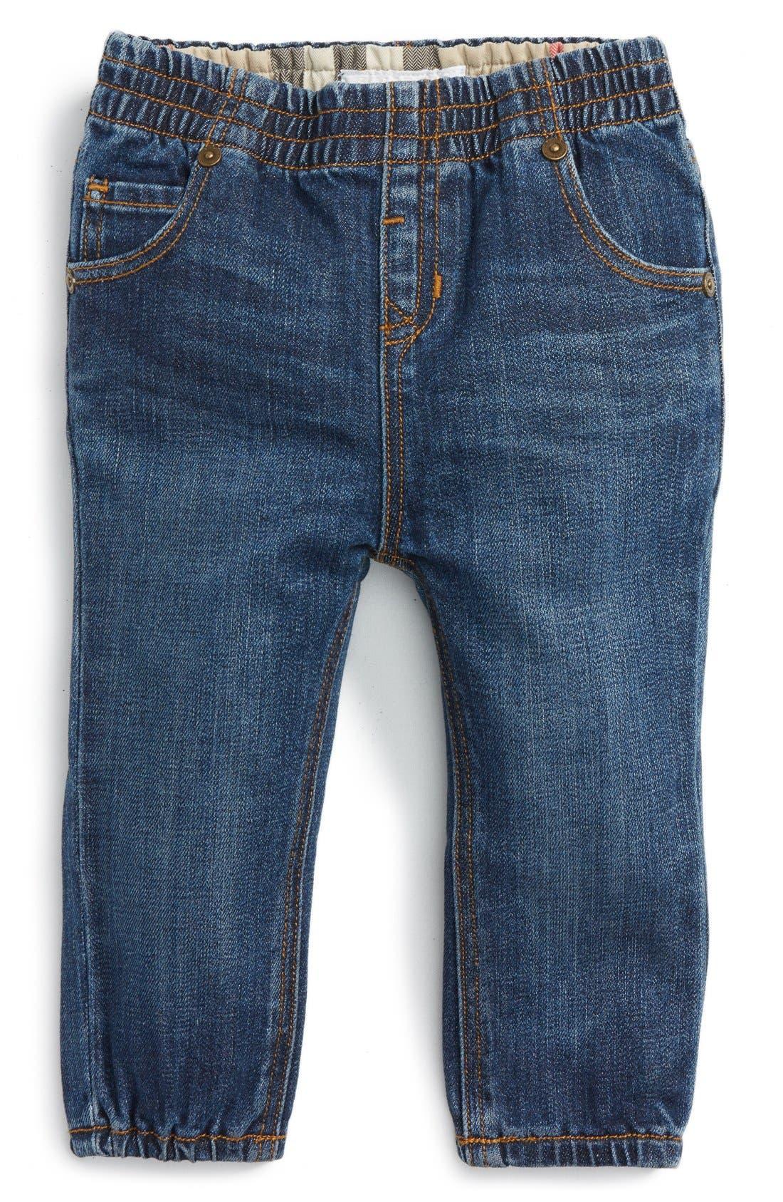 Alternate Image 1 Selected - Burberry Eloise Denim Jogger Pants (Baby Girls)