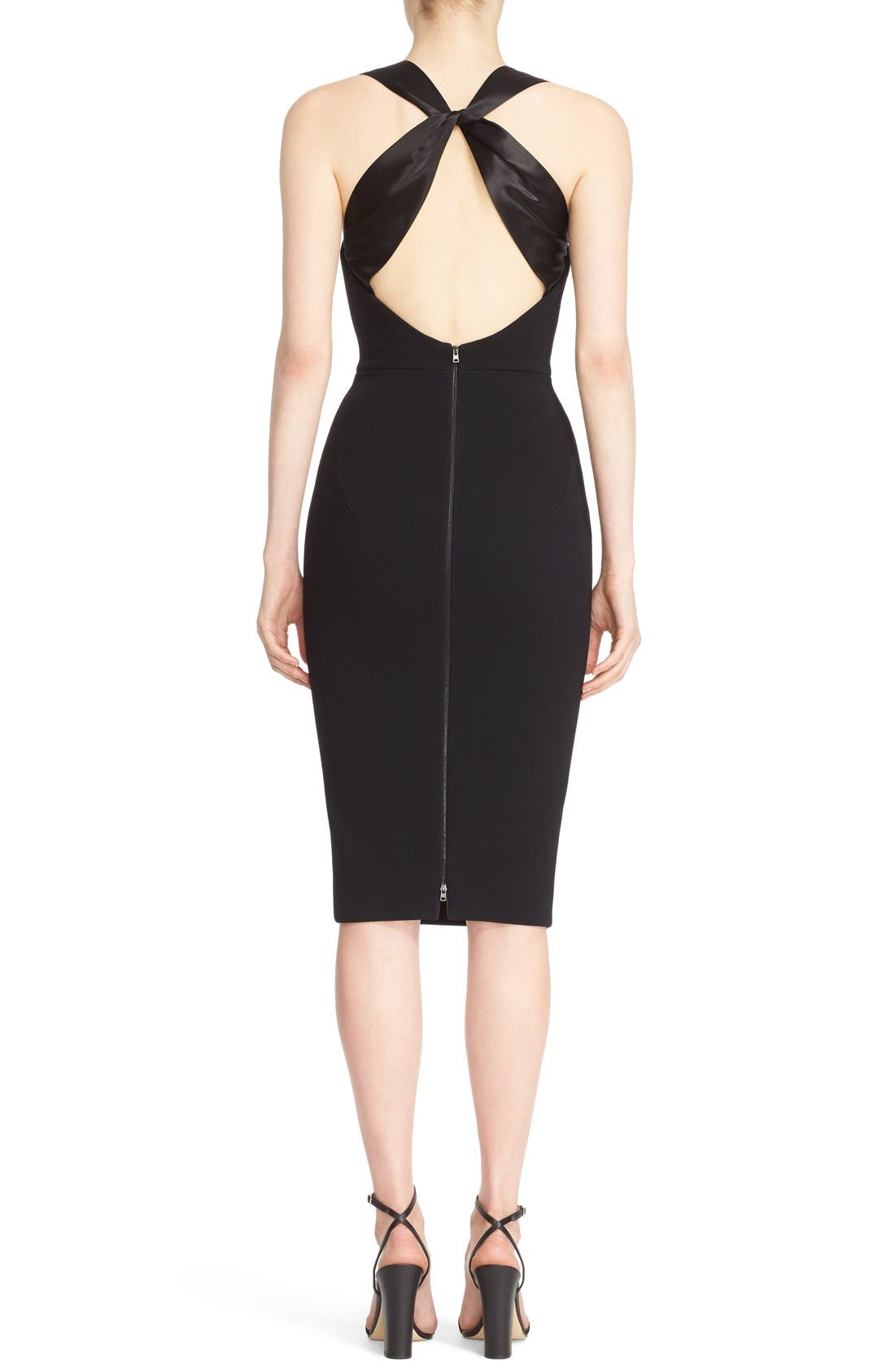 Alternate Image 2  - Victoria Beckham Cross Back Matte Crepe Dress