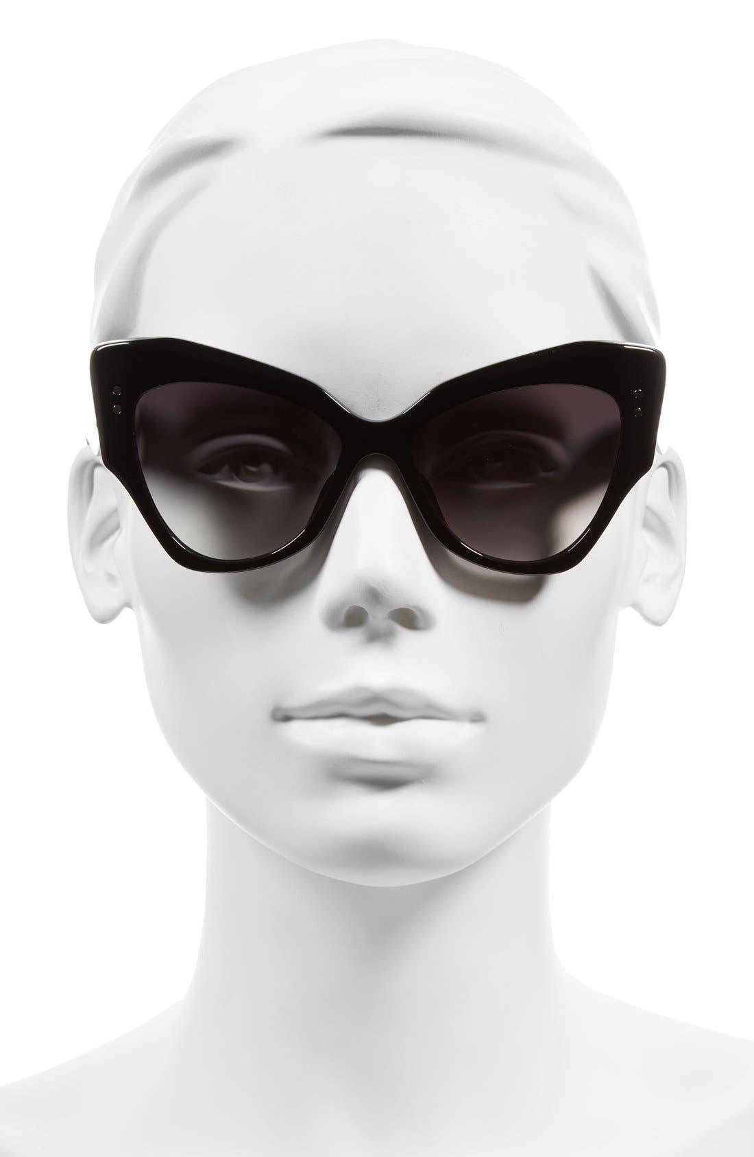 52mm Cat Eye Sunglasses,                             Alternate thumbnail 2, color,                             Black
