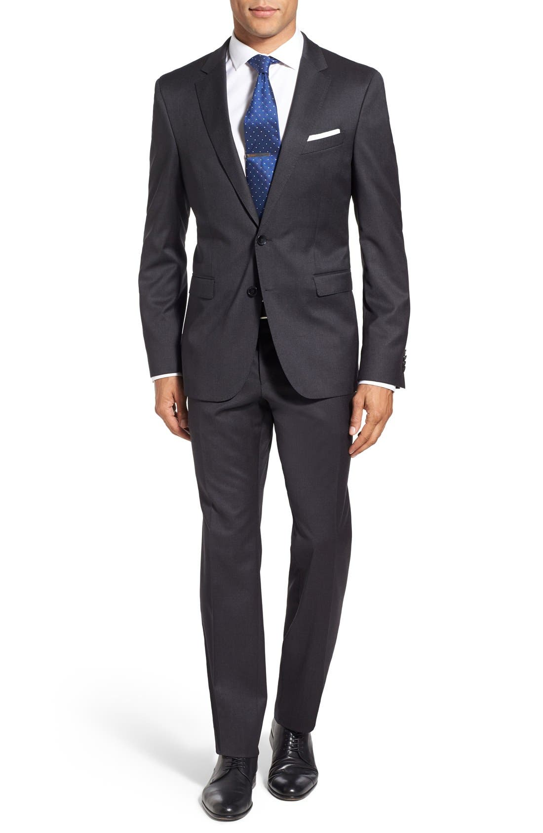 Main Image - BOSS 'Ryan/Win' Extra Trim Fit Solid Wool Suit