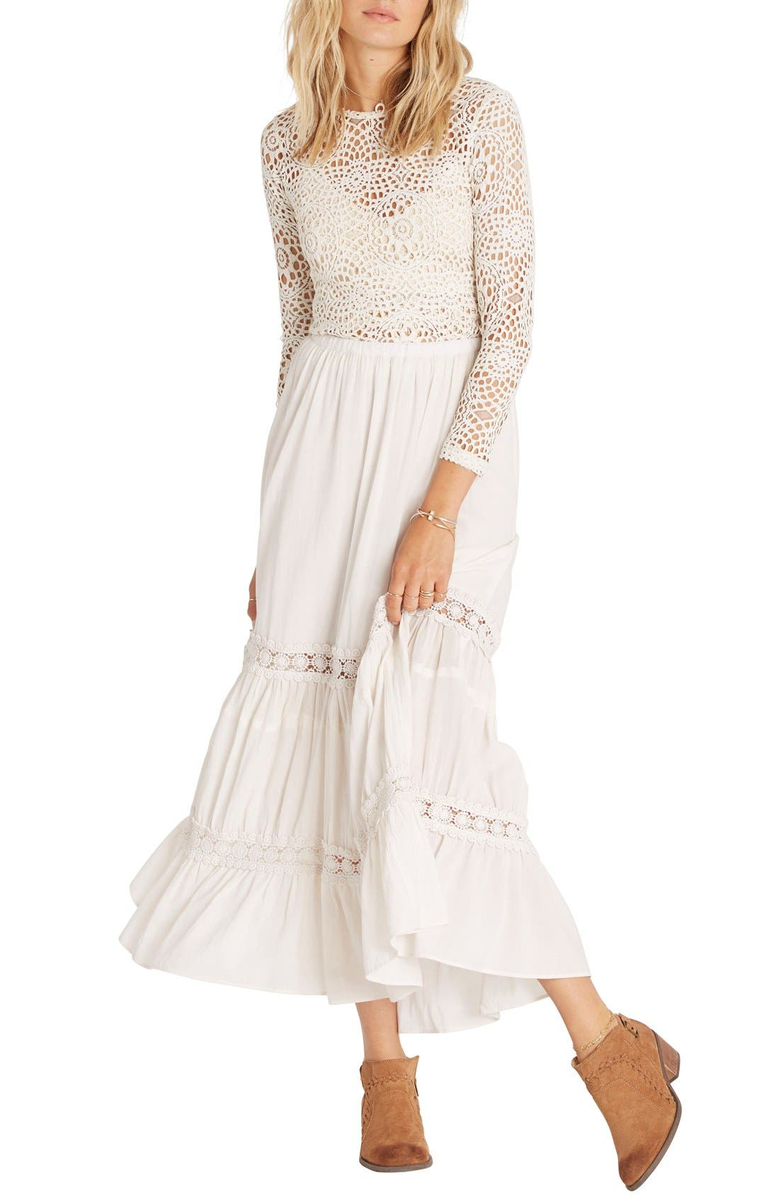 Main Image - Billabong Til the Moment Tiered Maxi Skirt