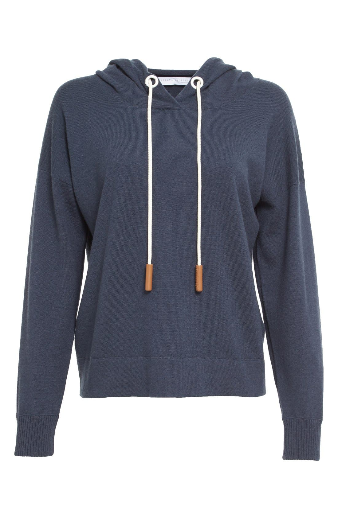 Cashmere Hooded Sweatshirt,                             Alternate thumbnail 4, color,                             Slate Blue