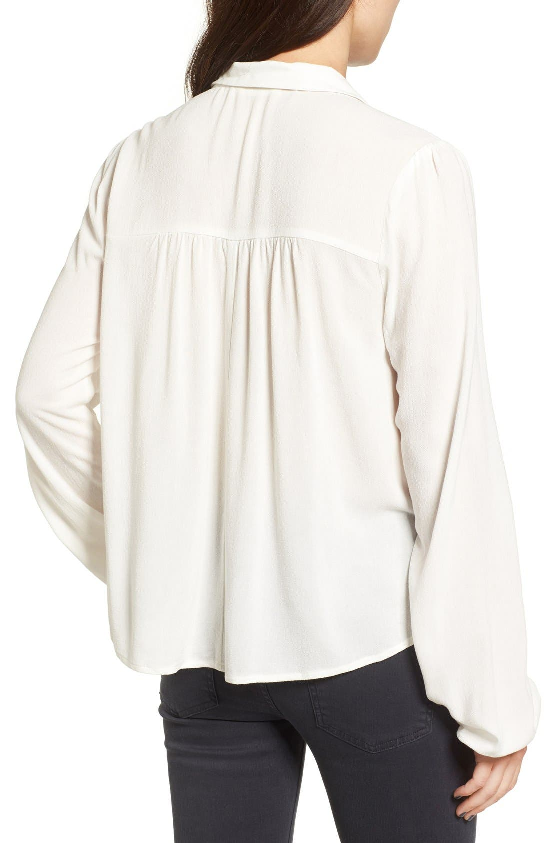 Tie Neck Blouse,                             Alternate thumbnail 3, color,                             Ivory