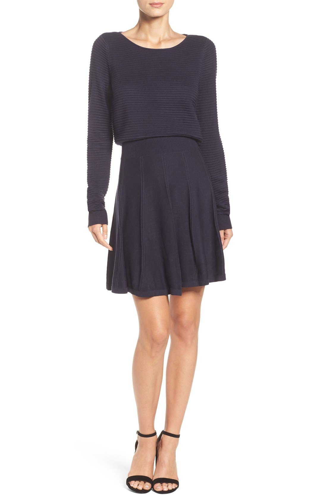 Alternate Image 2  - Eliza J Sweater Fit & Flare Dress