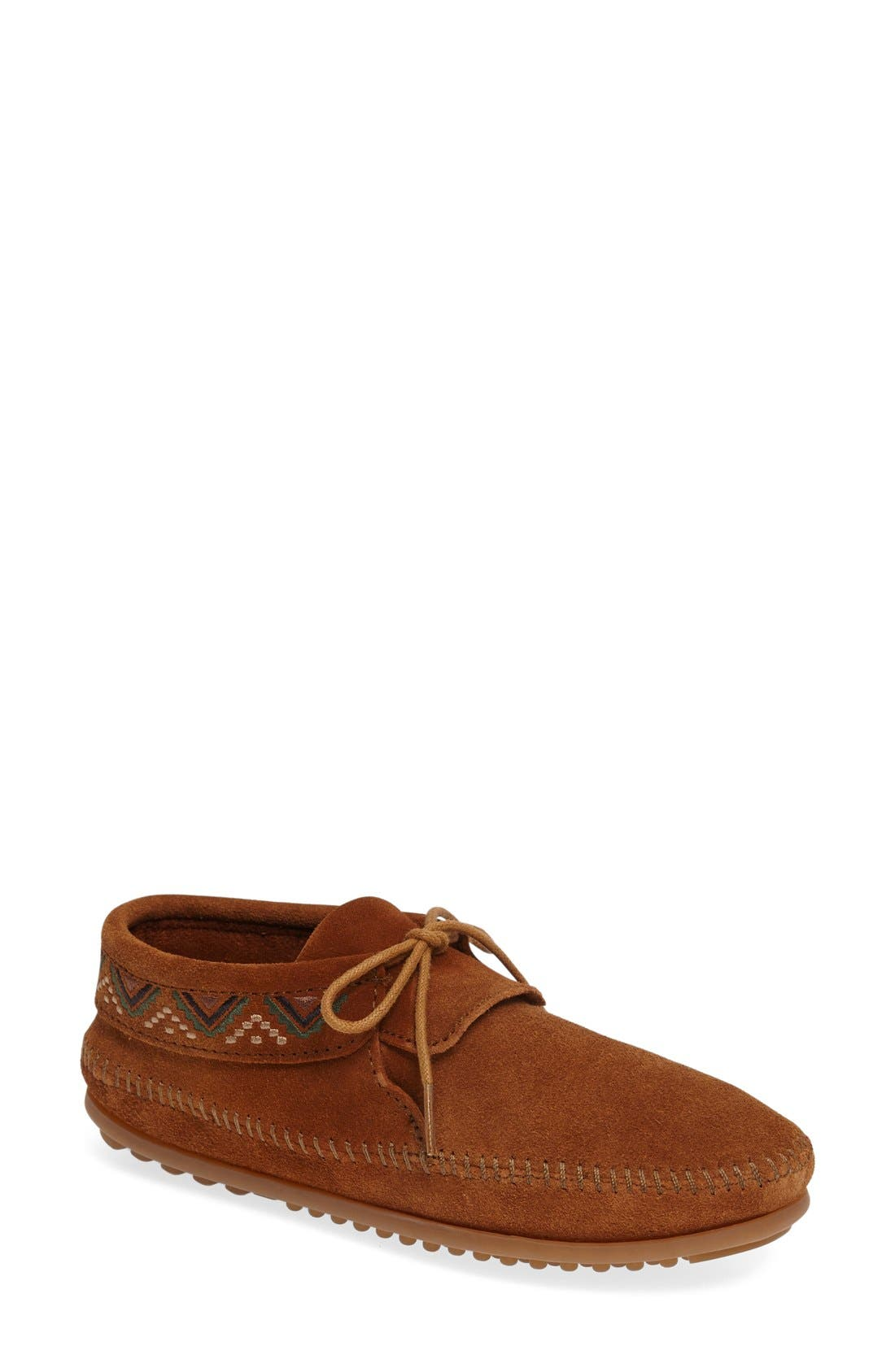 Mosaic Embroidered Moccasin,                         Main,                         color, Brown Suede