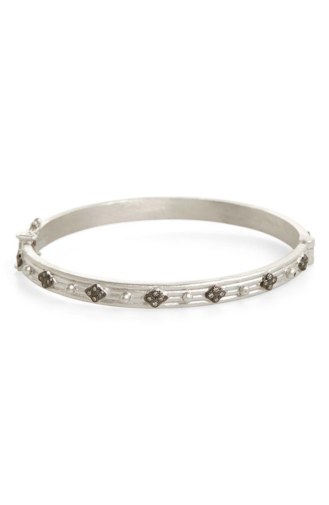New World Diamond Hinge Bangle,                         Main,                         color, Silver
