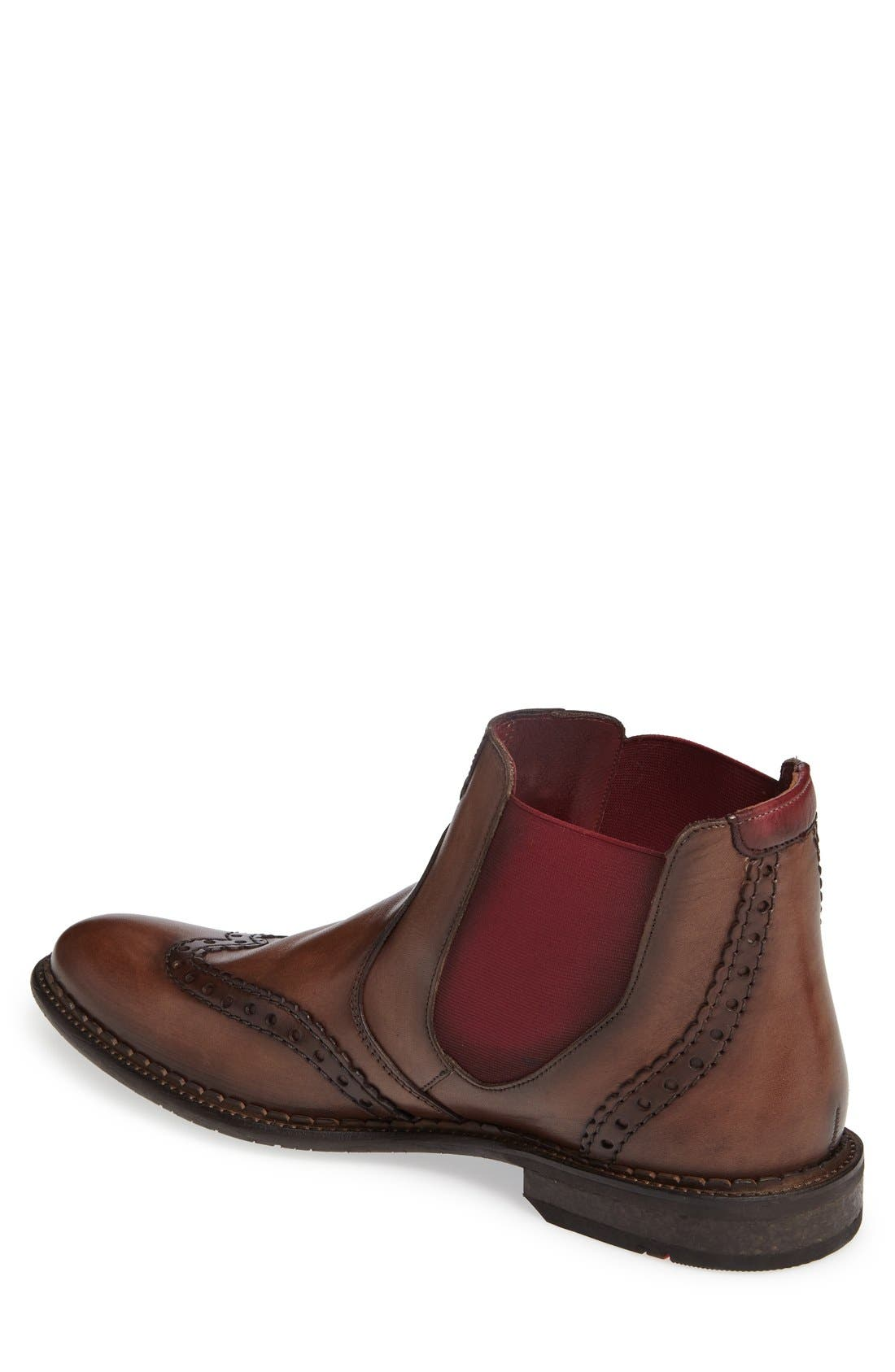 Grenoble Wingtip Chelsea Boot,                             Alternate thumbnail 2, color,                             Tobacco/ Bordo