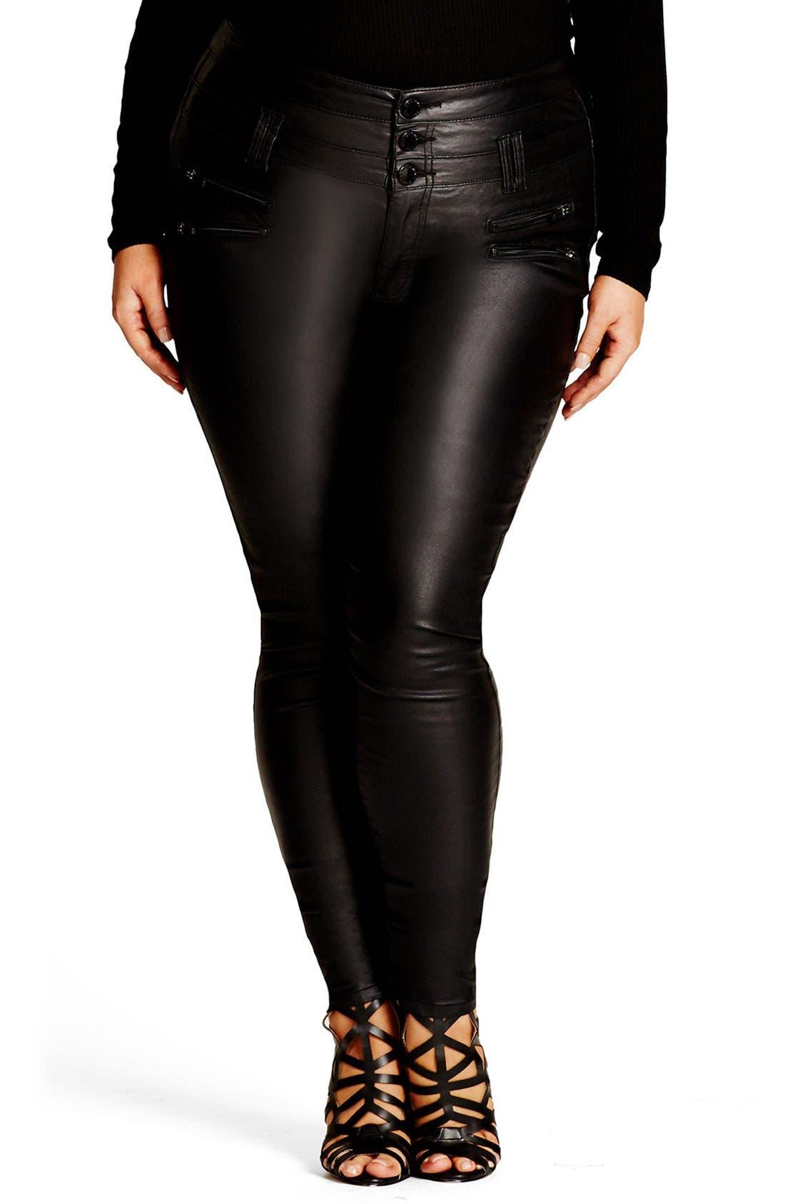 Coated Corset Skinny Jeans,                             Main thumbnail 1, color,                             Black