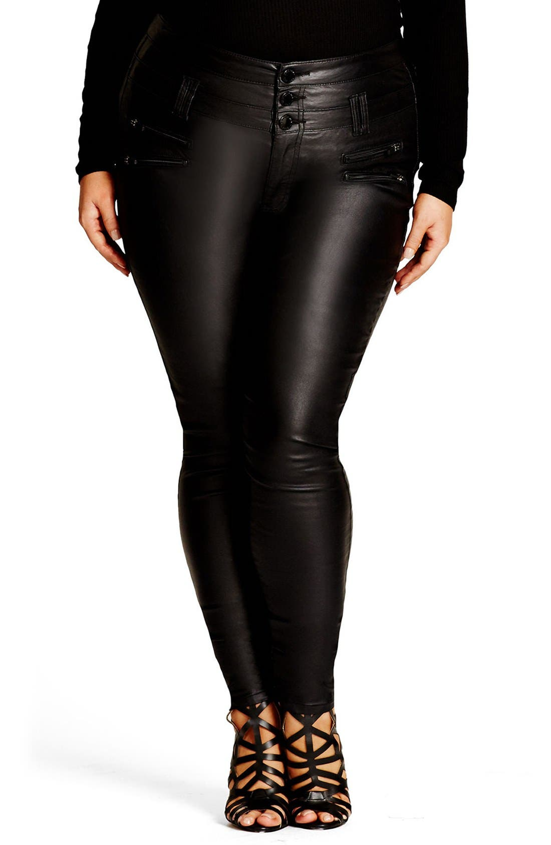 Coated Corset Skinny Jeans,                         Main,                         color, Black