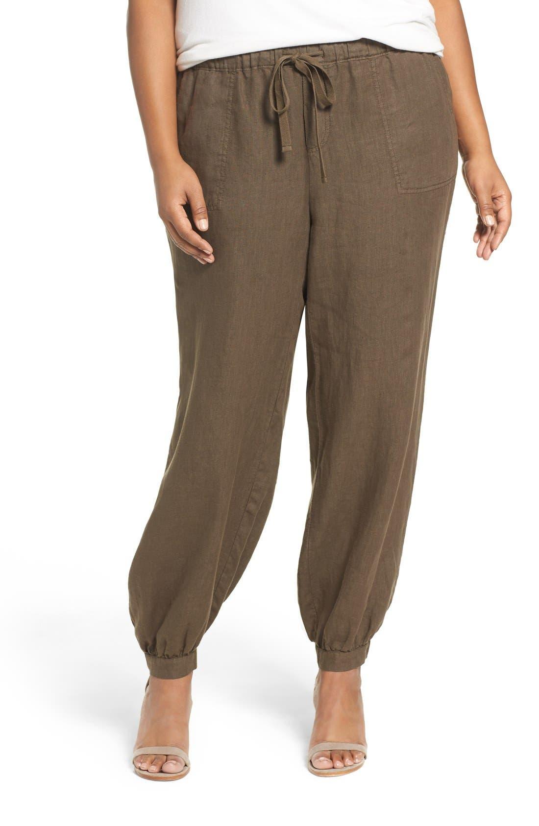 Caslon® Linen Jogger Pants (Plus Size)