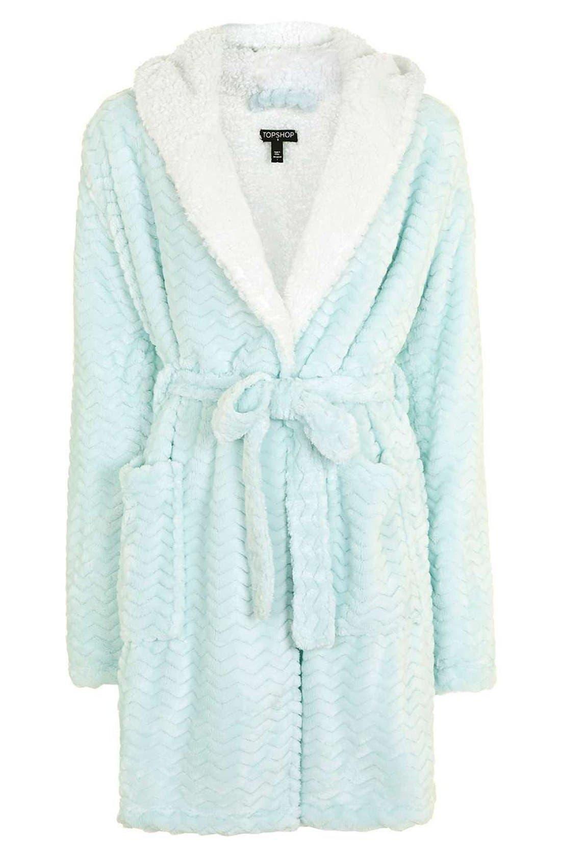 Alternate Image 4  - Topshop Teddy Hooded Chevron Robe