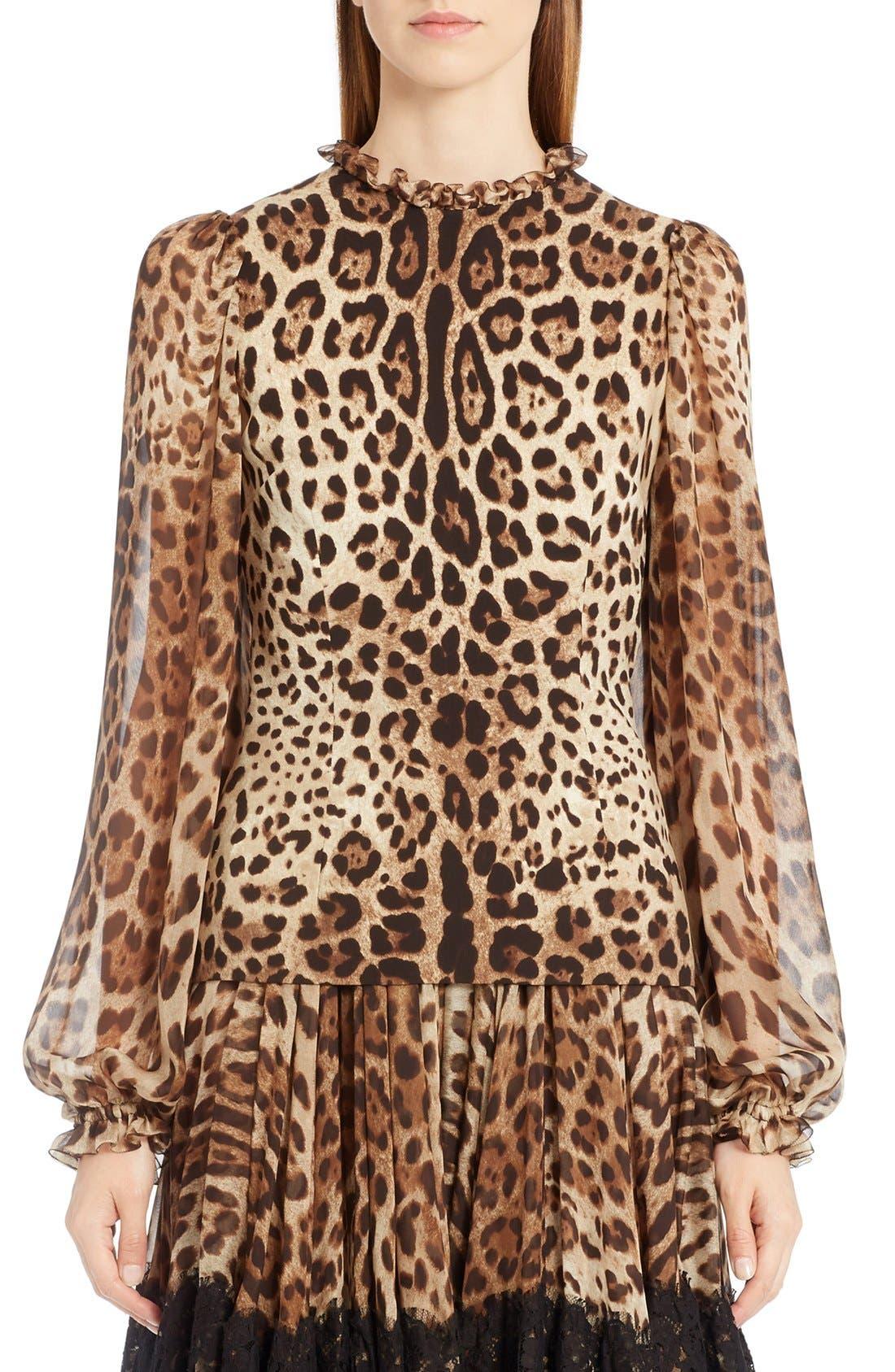 Dolce&Gabbana Leopard Print Stretch Cady Blouse