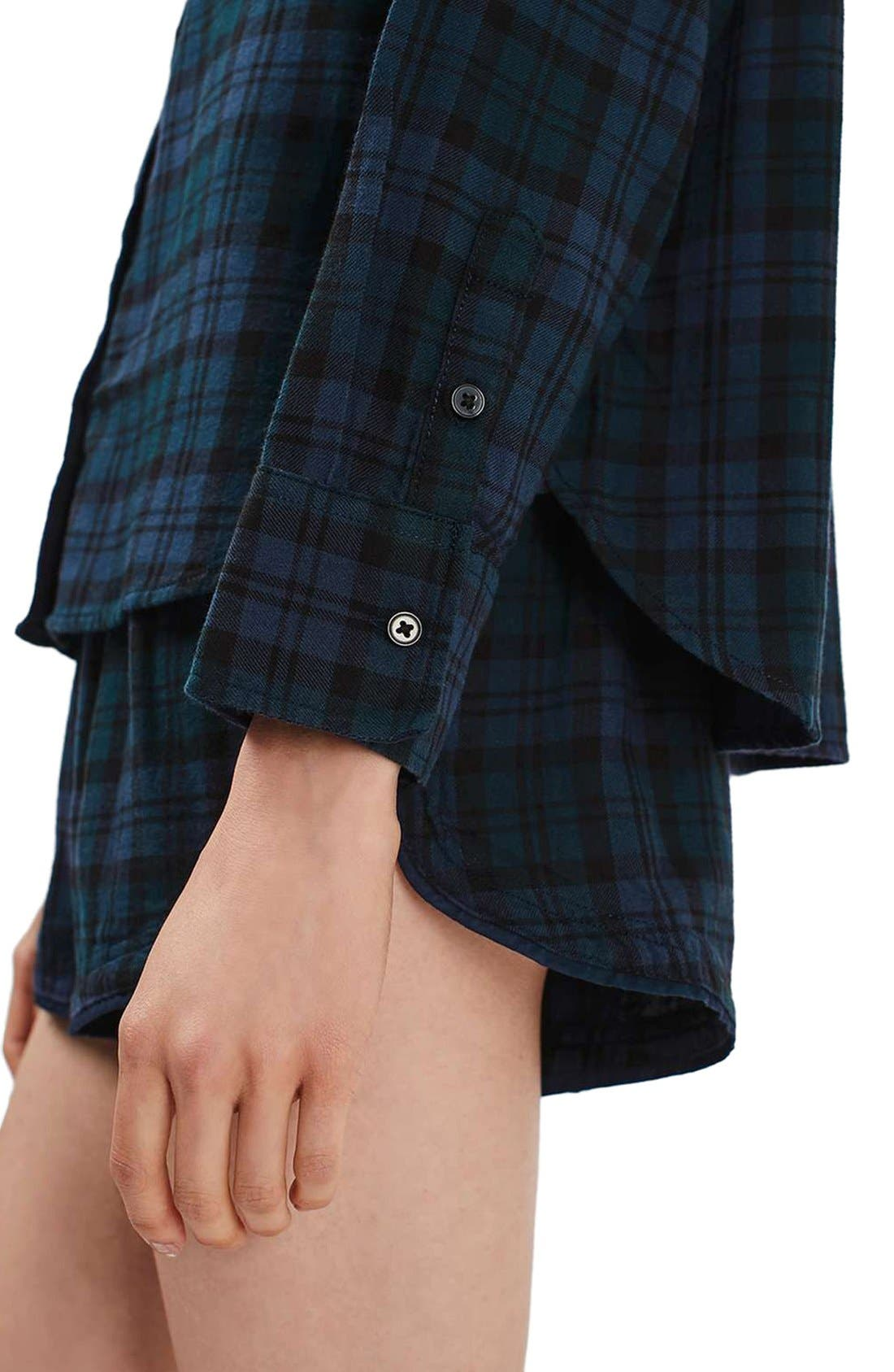 Alternate Image 5  - Topshop Plaid Flannel Pajama Shirt