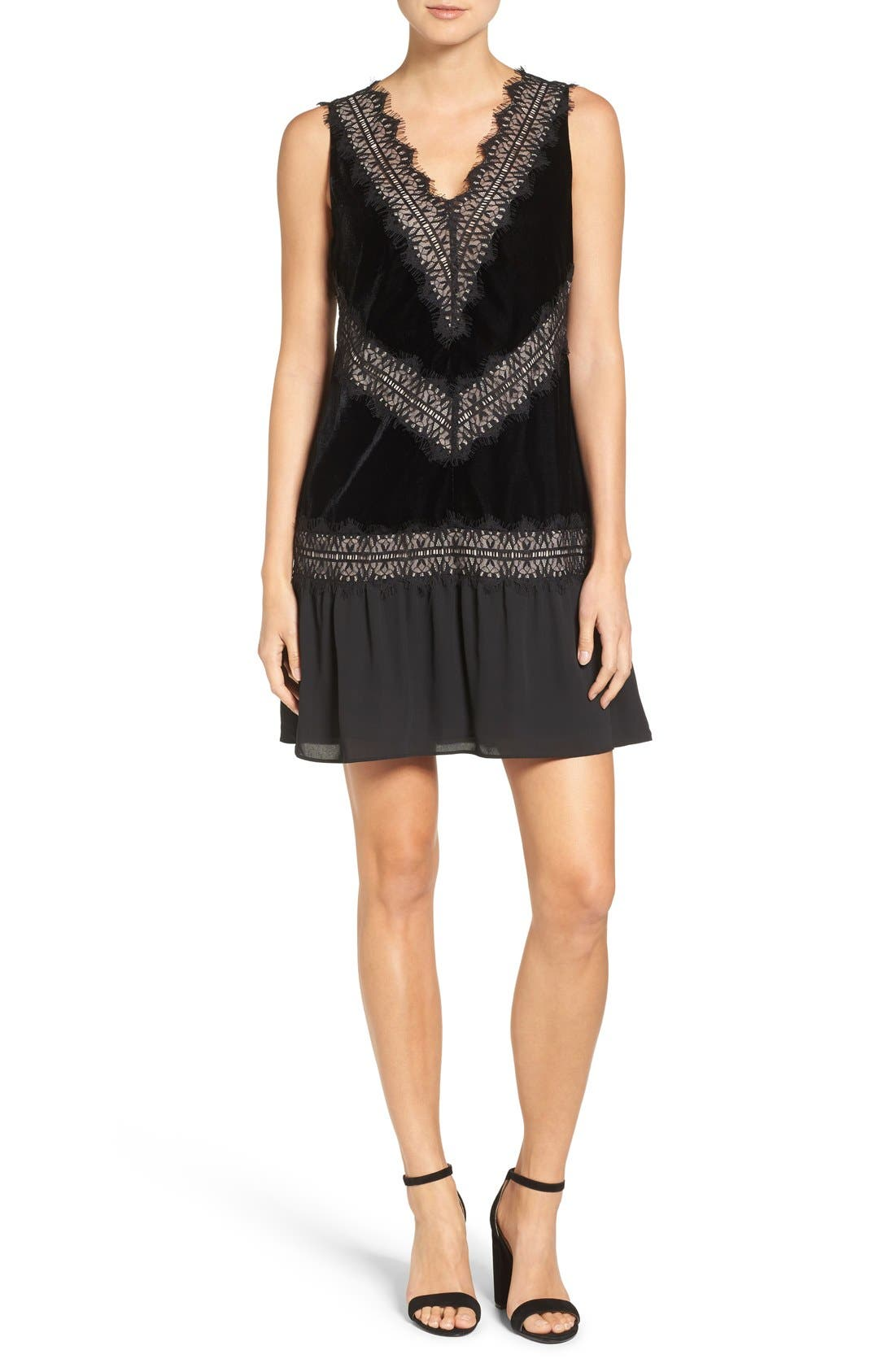 Velvet & Lace Dress,                         Main,                         color, Black
