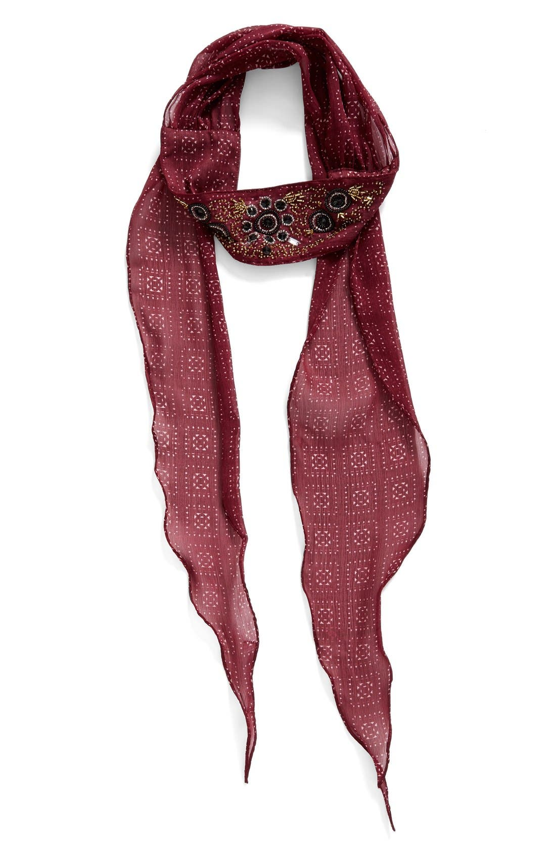 Main Image - BCBGeneration Embroidered Skinny Scarf