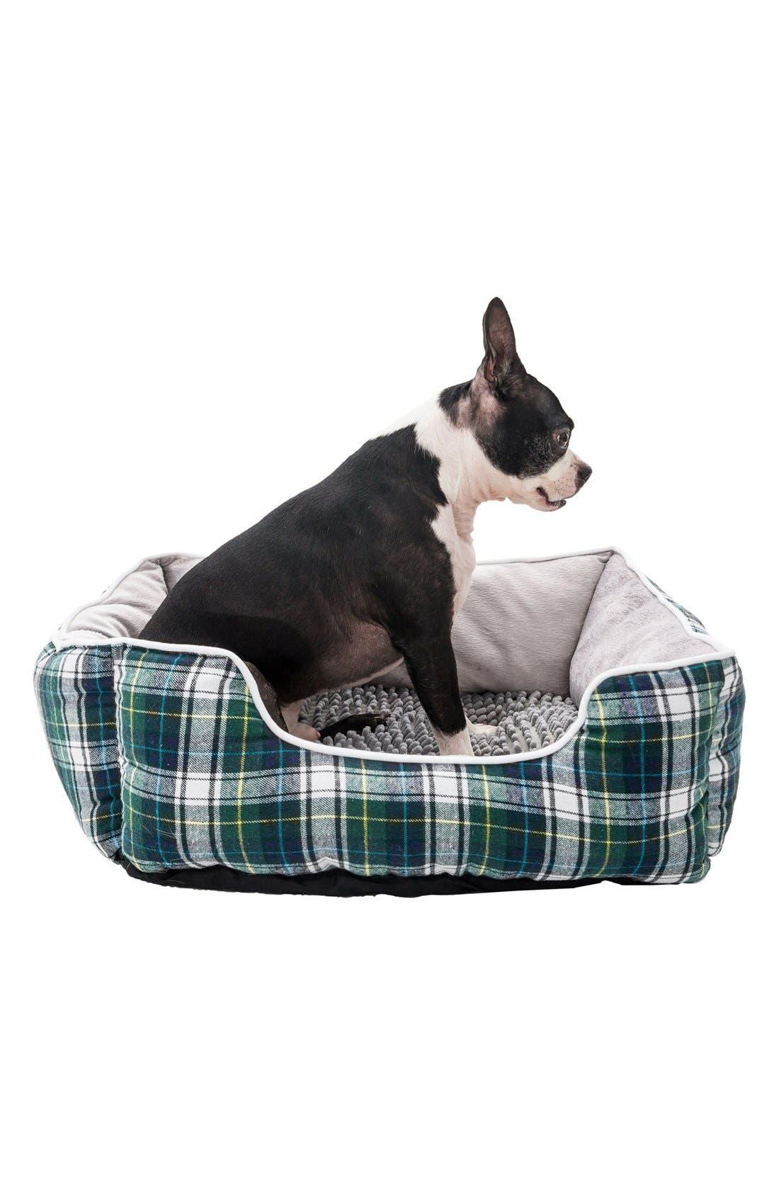 Braxton Plaid Pet Bed,                         Main,                         color, Grey