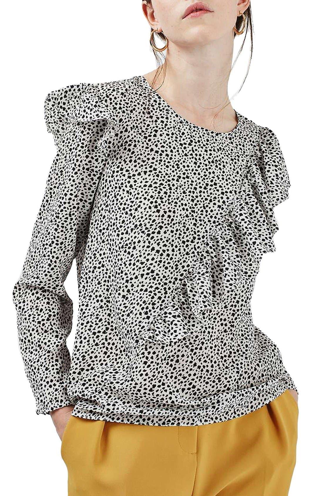 Animal Print Ruffle Blouse,                         Main,                         color, Black Multi