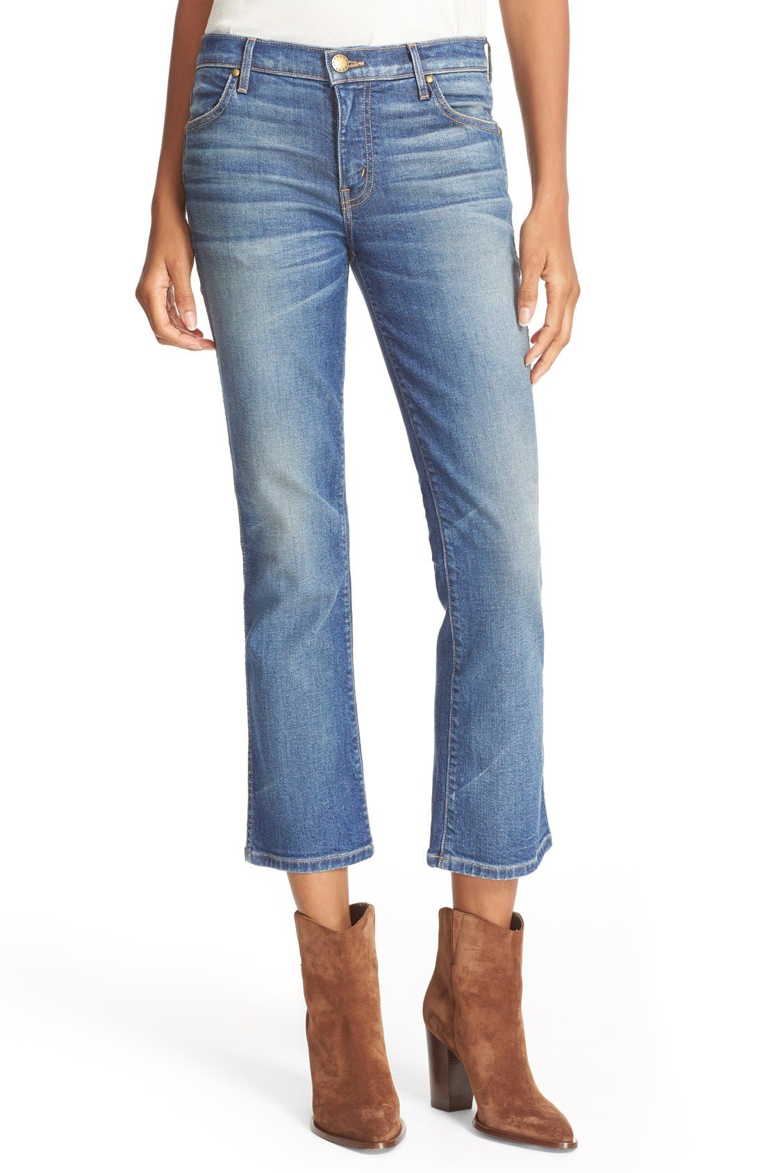 THE GREAT. The Nerd Low Rise Crop Jeans (Trail Wash)
