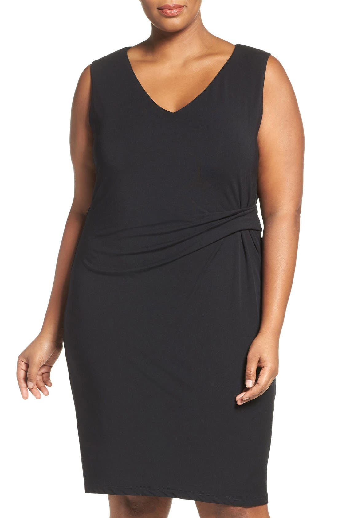Margaux Twist Front Sheath Dress,                         Main,                         color, Black