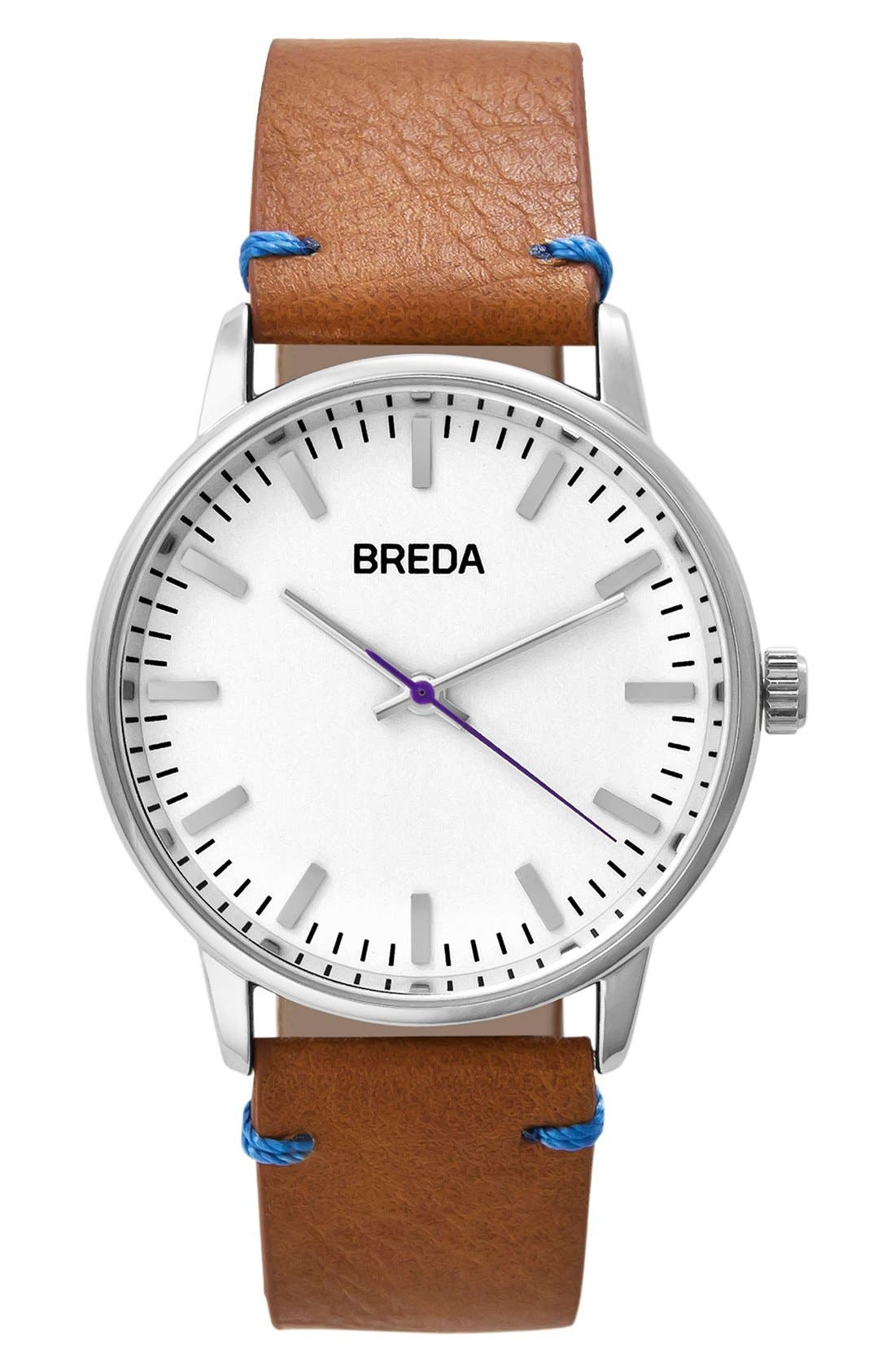 Main Image - BREDA Zapf Leather Strap Watch, 39mm