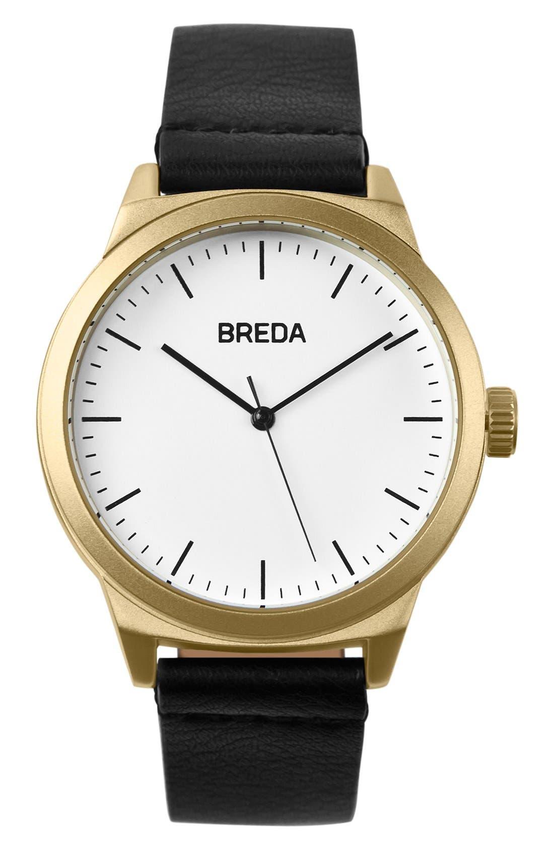 Main Image - BREDA Rand Round Leather Strap Watch, 43mm