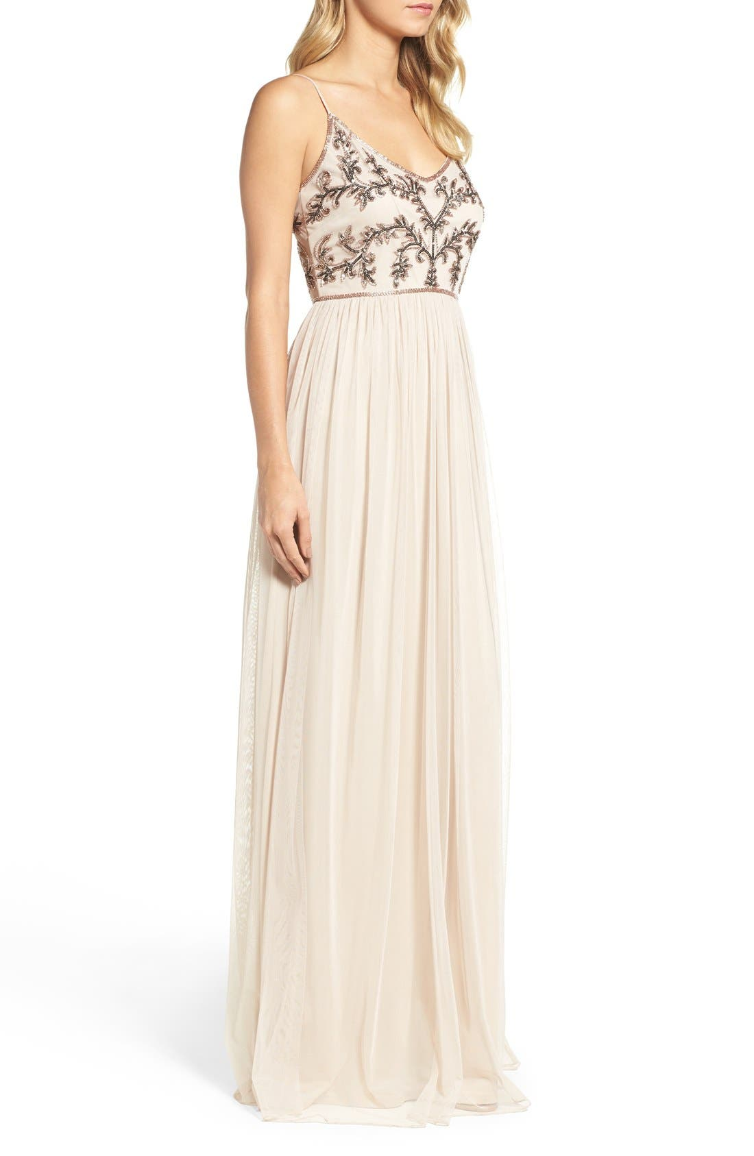 Alternate Image 3  - Adrianna Papell Spaghetti Strap Embroidered Bodice Gown