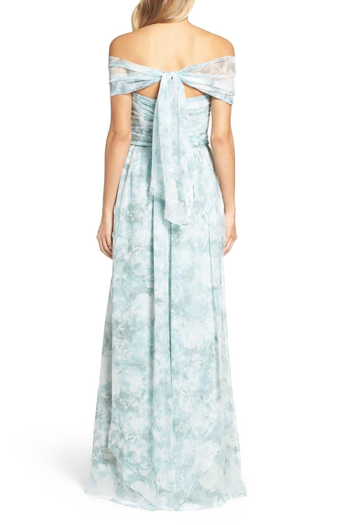Alternate Image 2  - Jenny Yoo 'Nyla' Floral Print Convertible Strapless Chiffon Gown