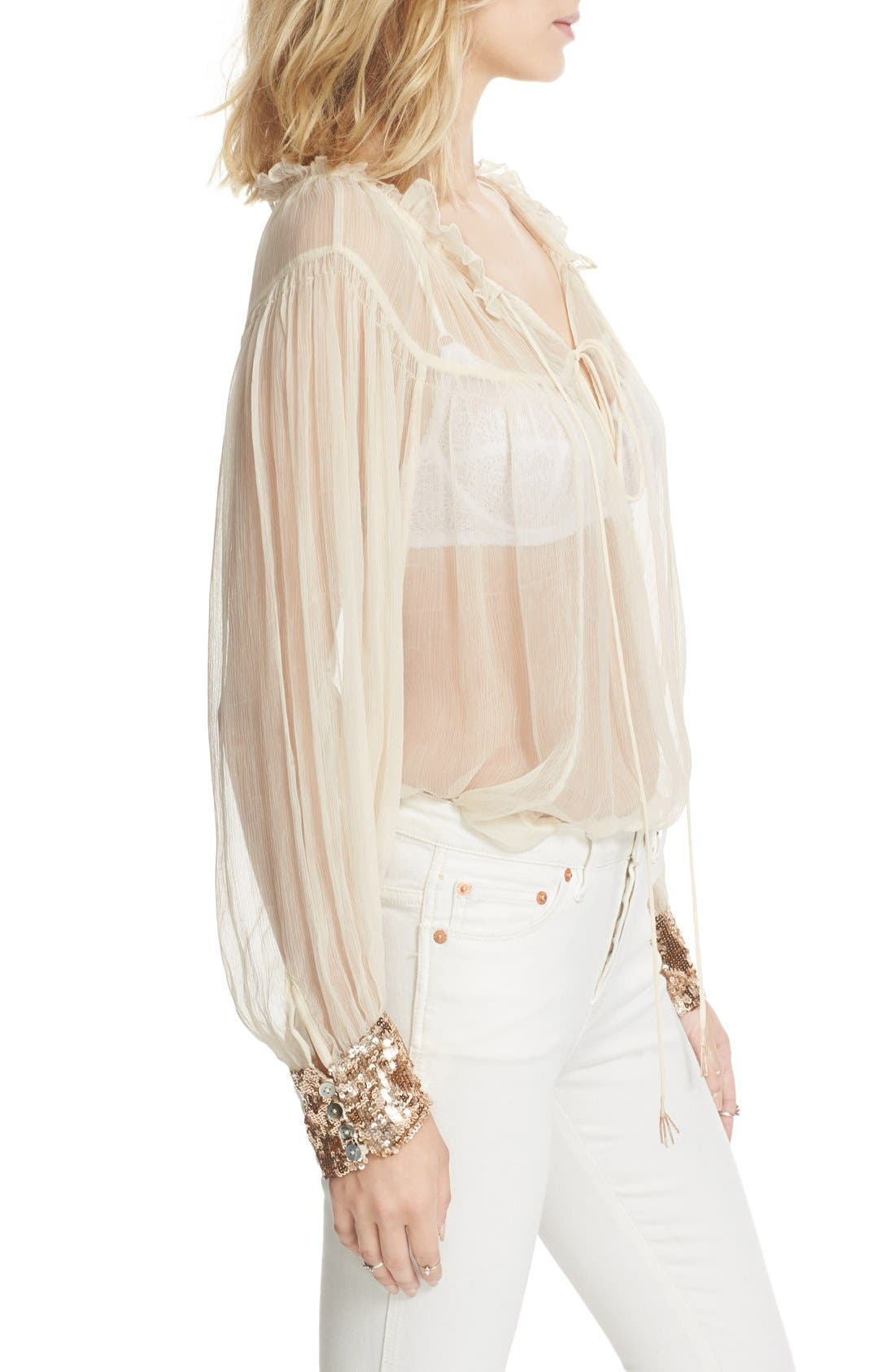Dream Cuff Blouse,                             Alternate thumbnail 3, color,                             Ivory