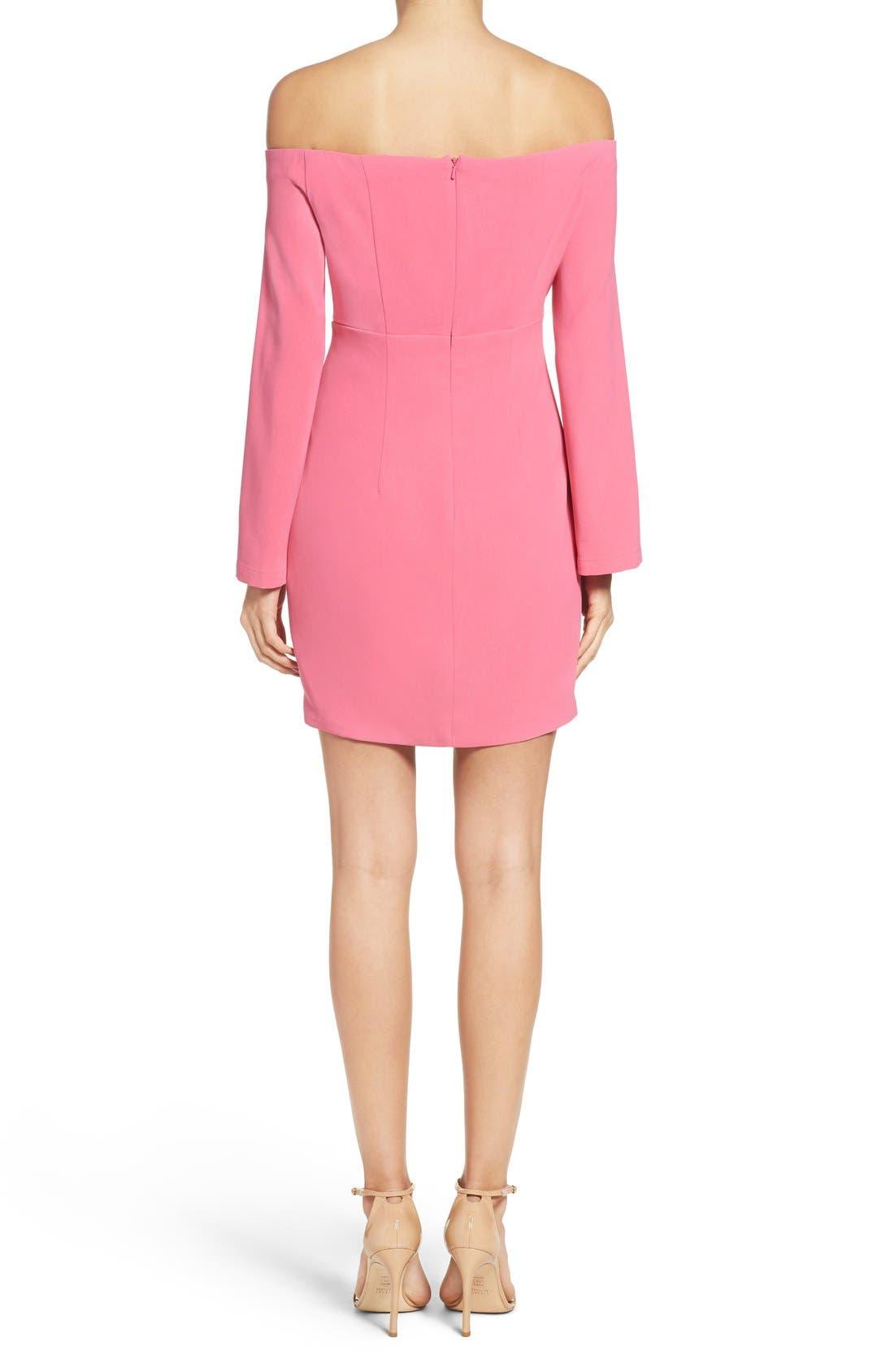 Ava Off the Shoulder Dress,                             Alternate thumbnail 2, color,                             Tulip Pink