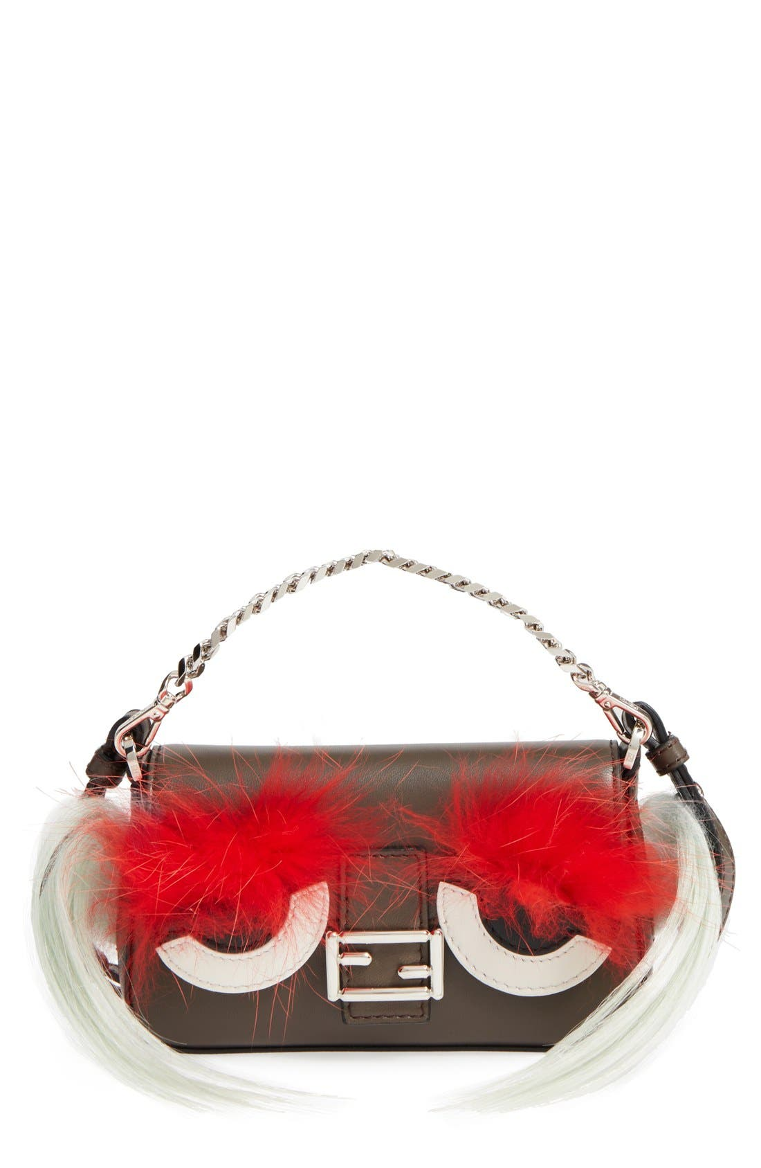 Fendi 'Micro Monster' Lambskin Leather, Genuine Fox Fur & Genuine Kidassia Goat Fur Baguette