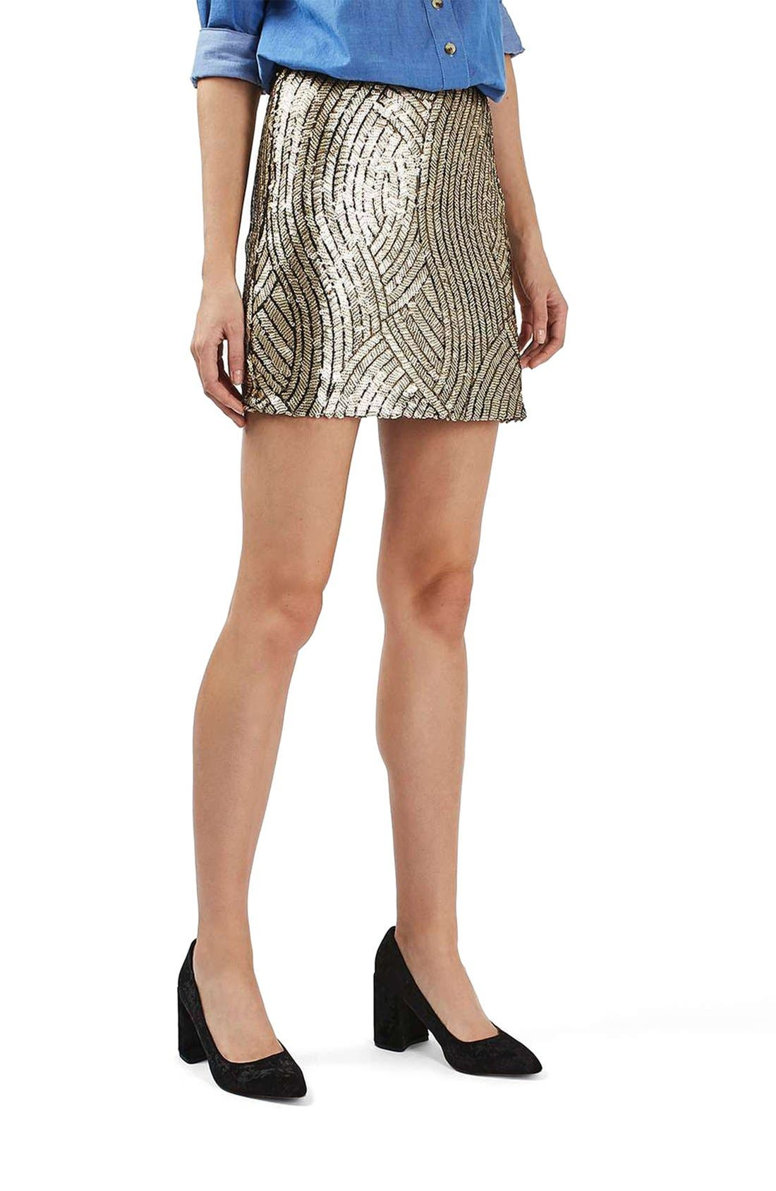 Psych Sequin Miniskirt,                             Main thumbnail 1, color,                             Gold Multi