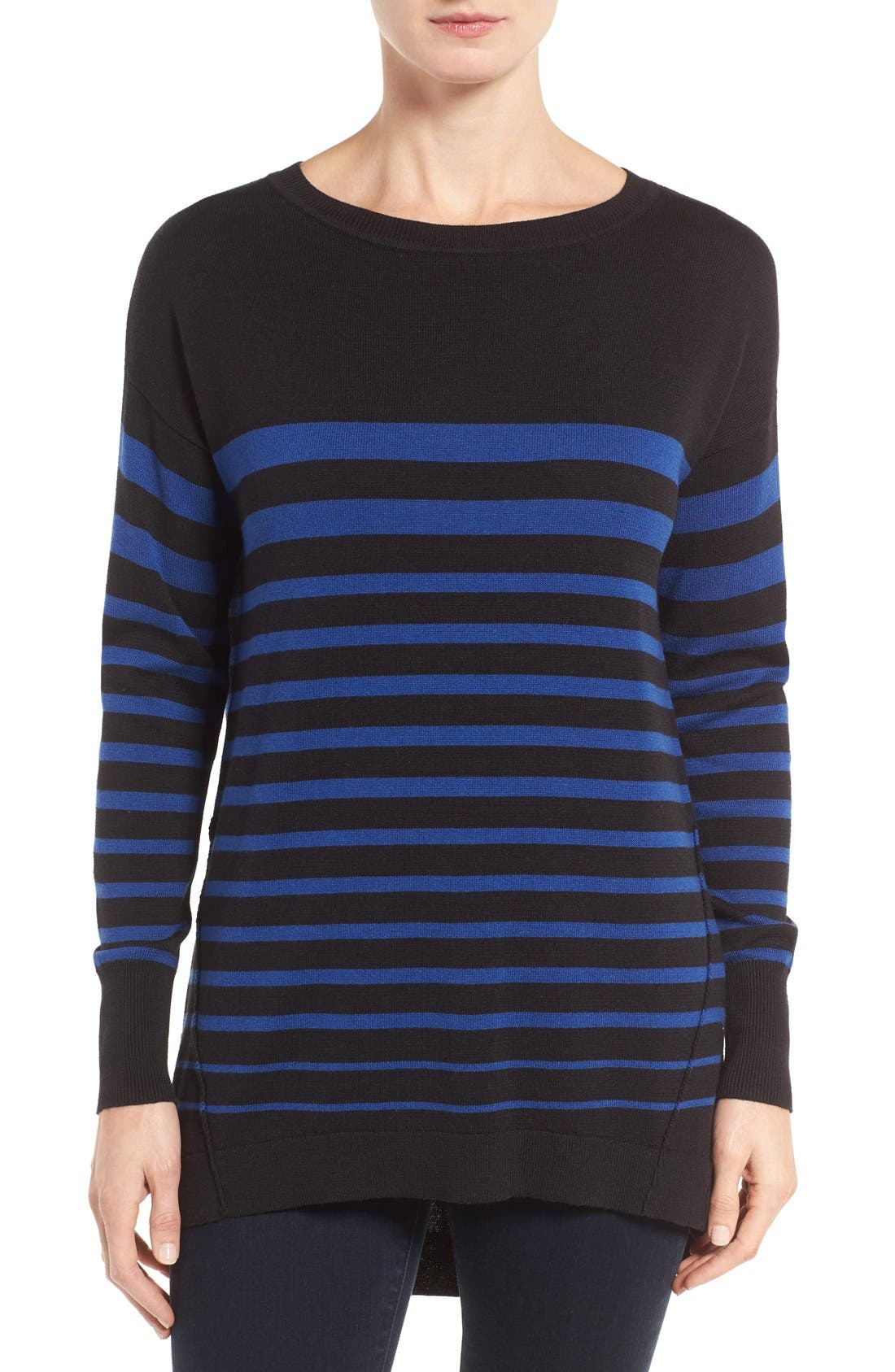 Zip Back High/Low Tunic Sweater,                             Main thumbnail 1, color,                             Black- Navy Stripe