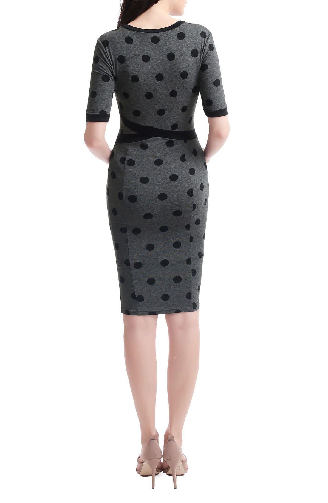 Ella Maternity Body-Con Dress,                             Alternate thumbnail 2, color,                             Dark Heather Gray