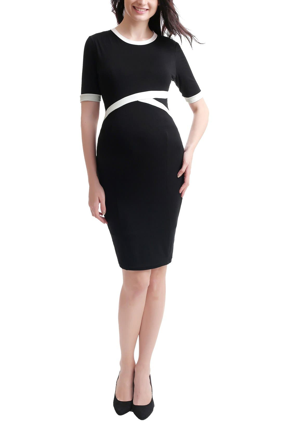 Iris Maternity Body-Con Dress,                         Main,                         color, Black/ White