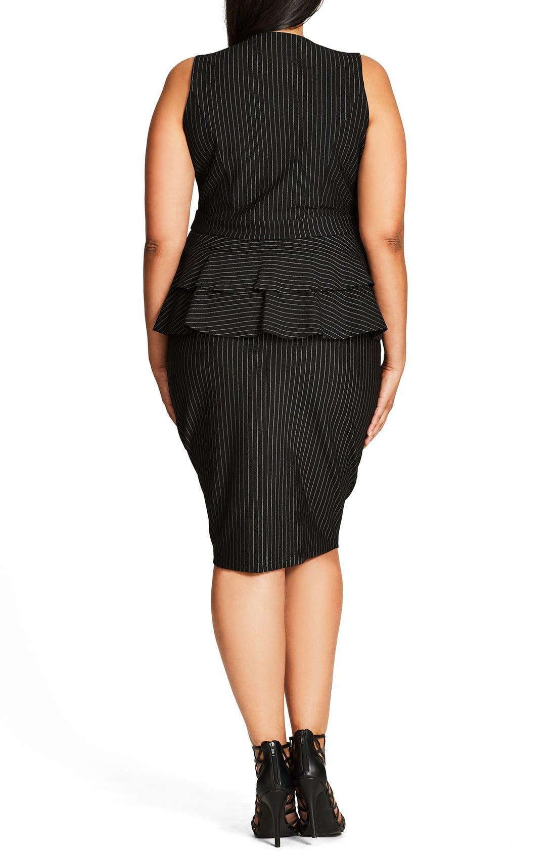 Sexy Stripe Tiered Peplum Sheath Dress,                             Alternate thumbnail 2, color,                             Black