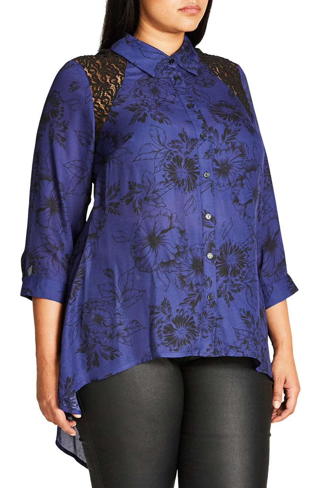 Des Fleurs Back Keyhole Shirt,                             Alternate thumbnail 3, color,                             Blue Indigo
