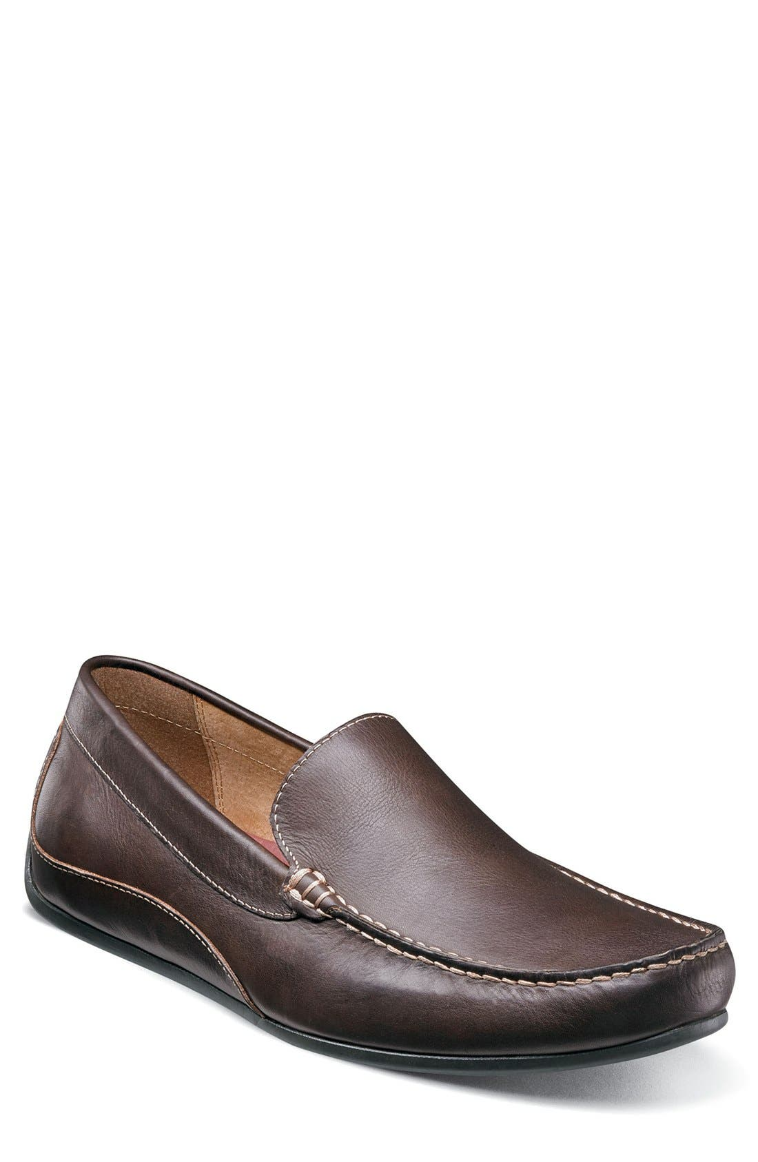 Oval Driving Shoe,                         Main,                         color, Brown Leather