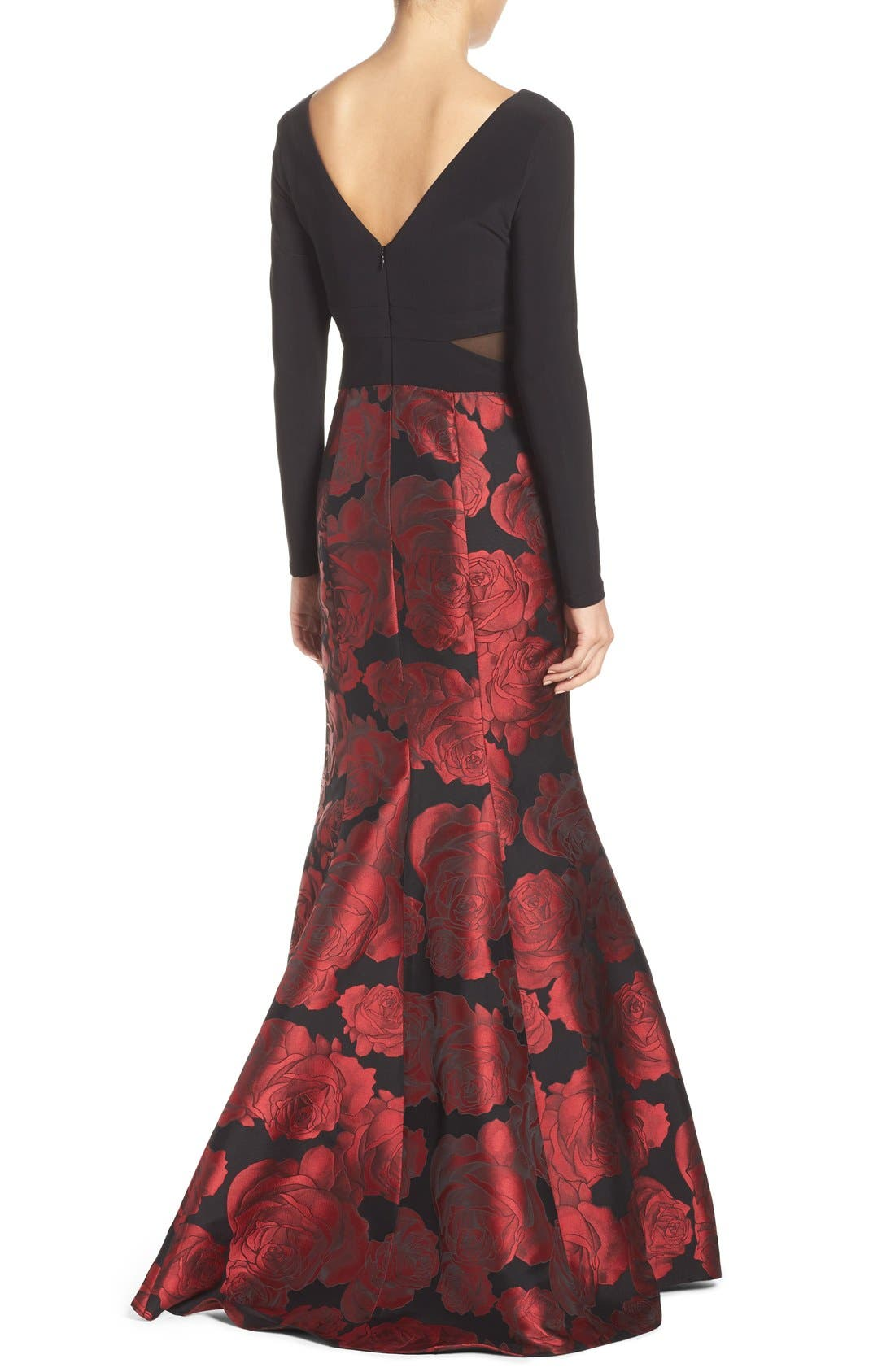 Brocade Mermaid Gown,                             Alternate thumbnail 2, color,                             Black/ Red