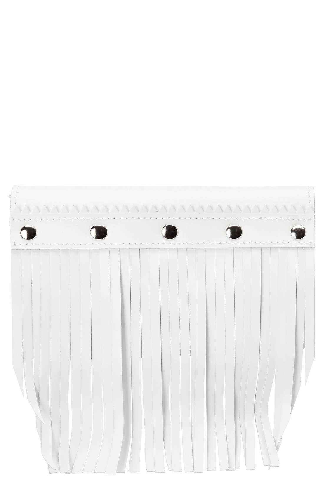 Fringe Leather Wallet,                         Main,                         color, White White