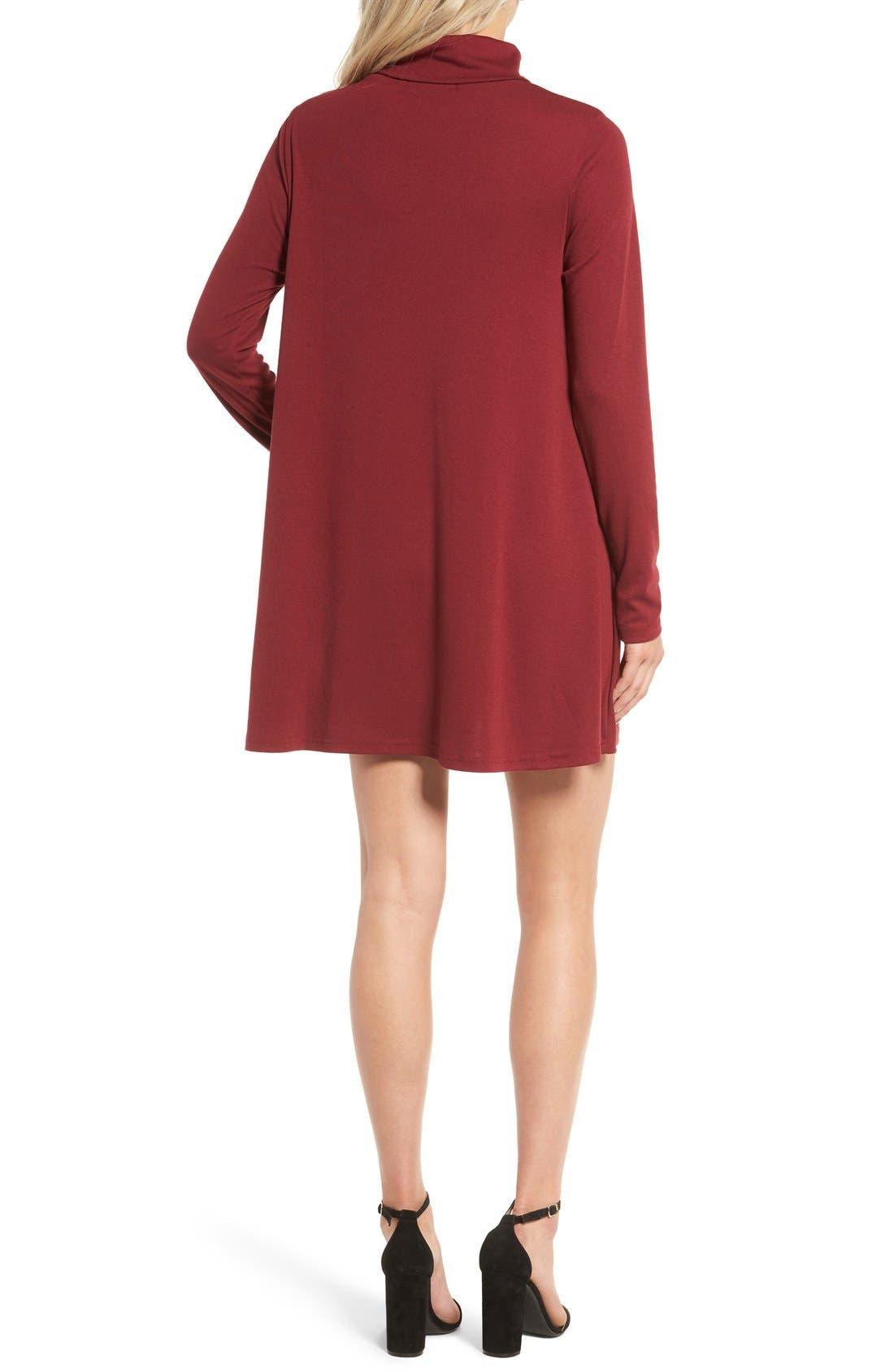 Alternate Image 2  - Cotton Emporium Turtleneck Swing Dress