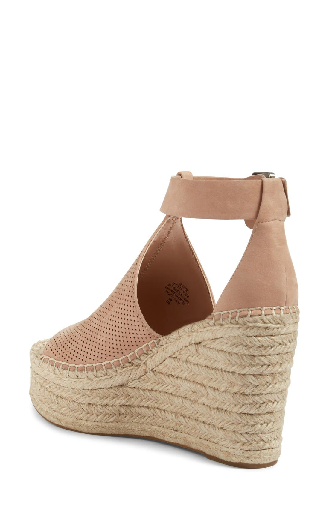 Annie Perforated Espadrille Platform Wedge,                             Alternate thumbnail 2, color,                             Blush Suede