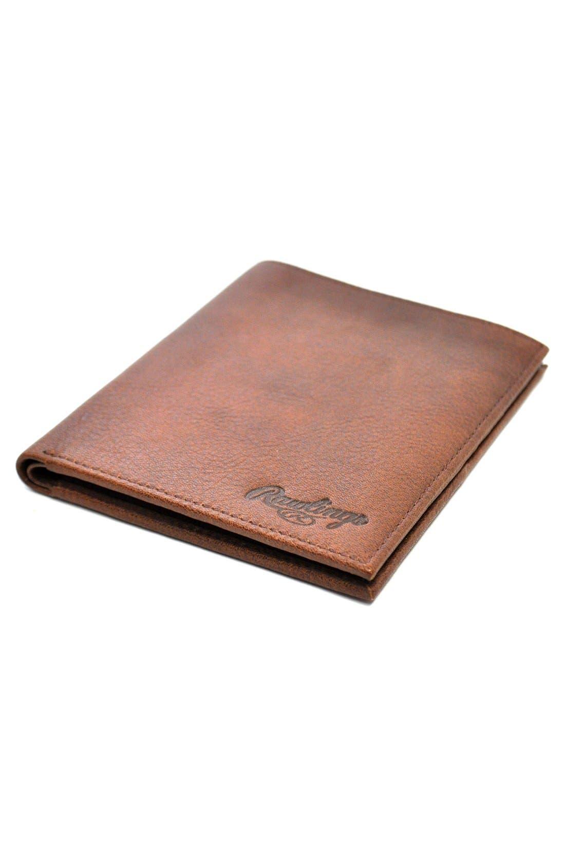 Triple Play Leather Executive Wallet,                             Alternate thumbnail 5, color,                             Cognac