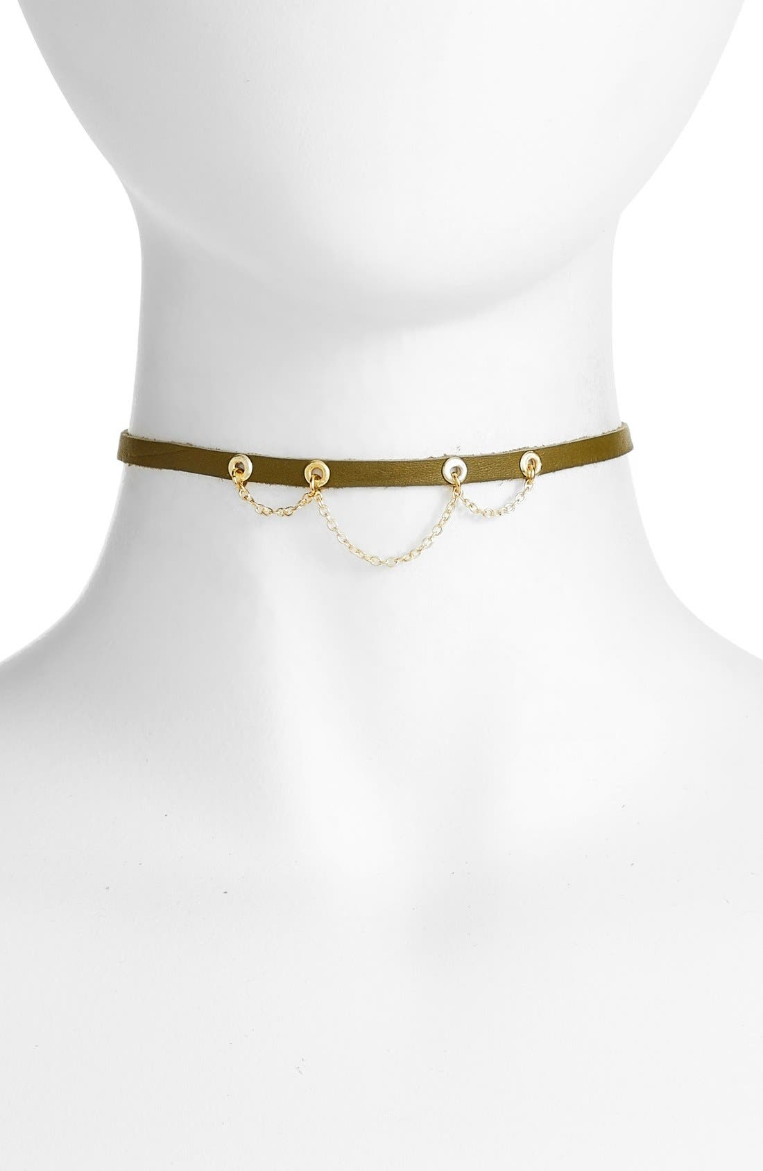 Leather & Chain Choker,                         Main,                         color, Green