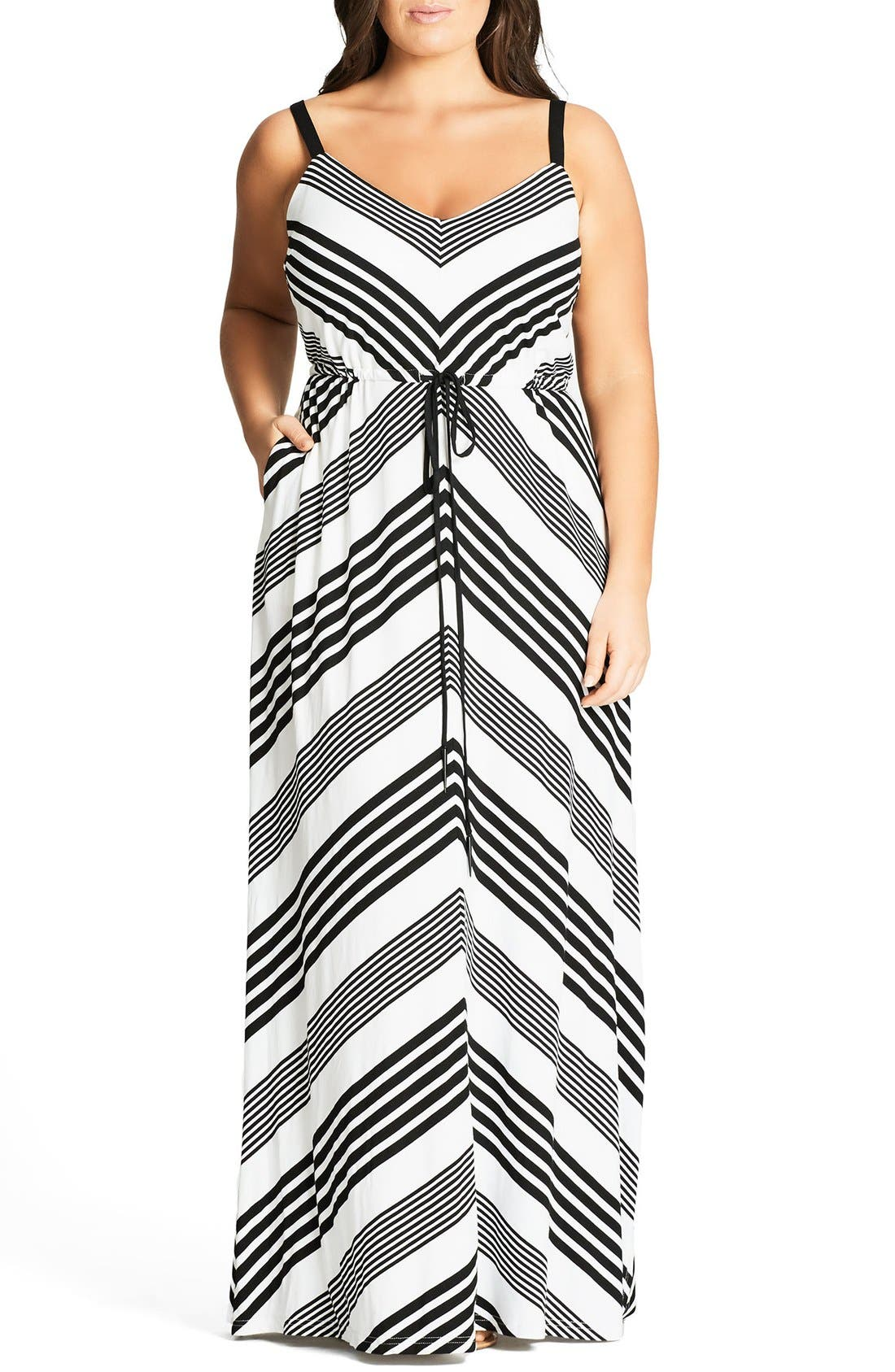 Stripe Maxi Dress,                         Main,                         color, Black