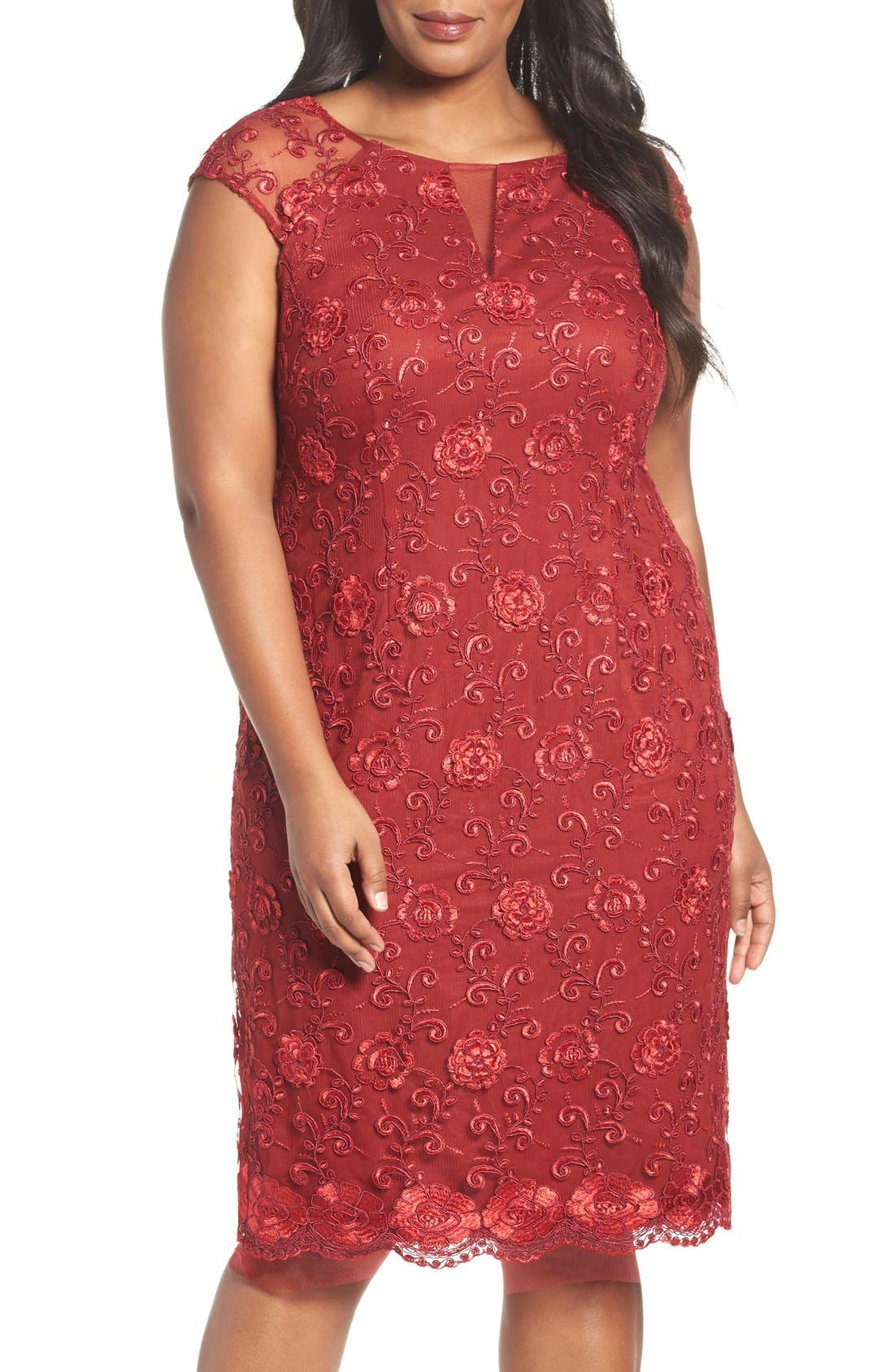 Illusion Sleeve Corded Lace Cocktail Dress,                         Main,                         color, Scarlet