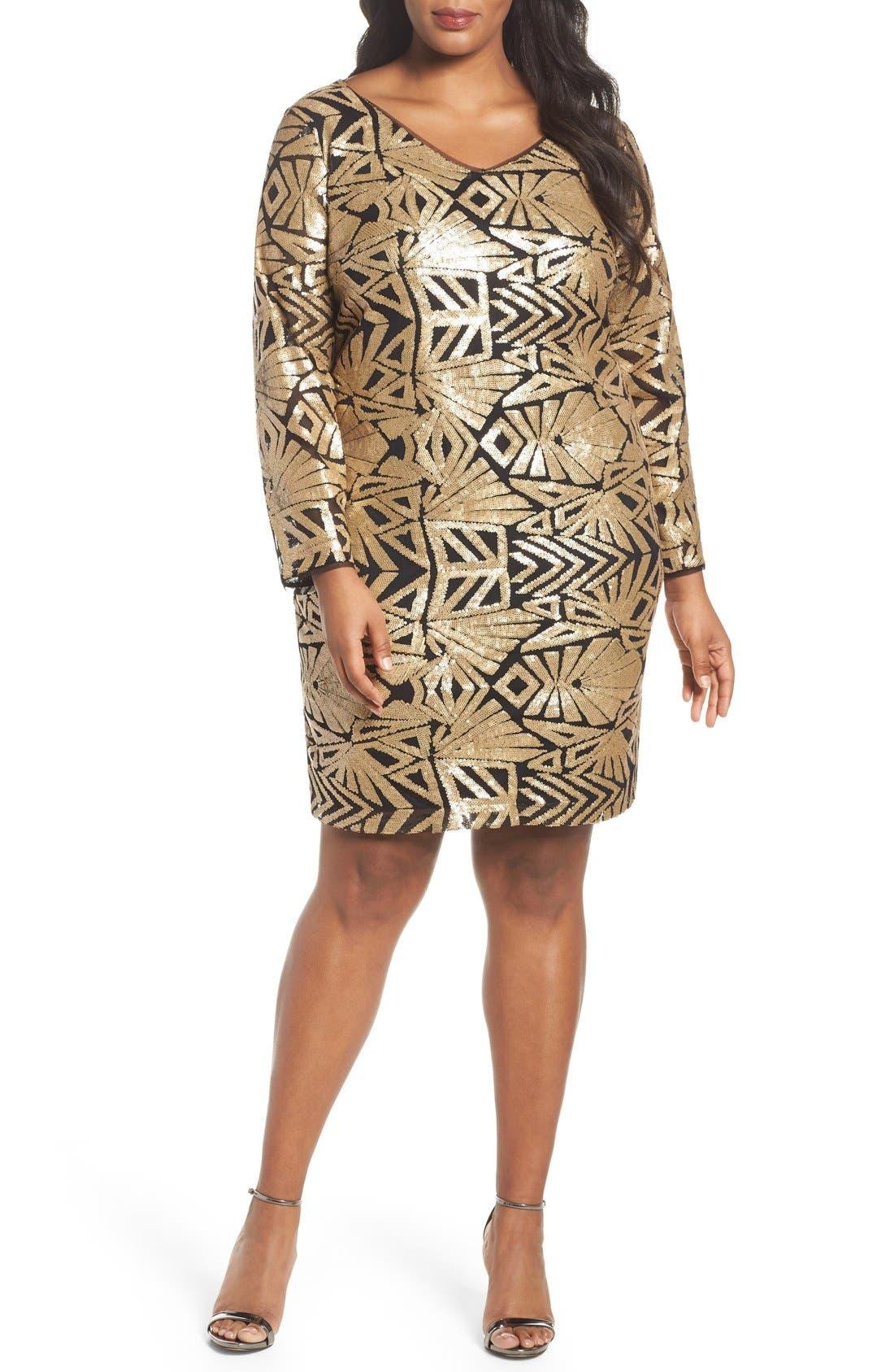 V-Neck Sequin Sheath Dress,                         Main,                         color, Gold